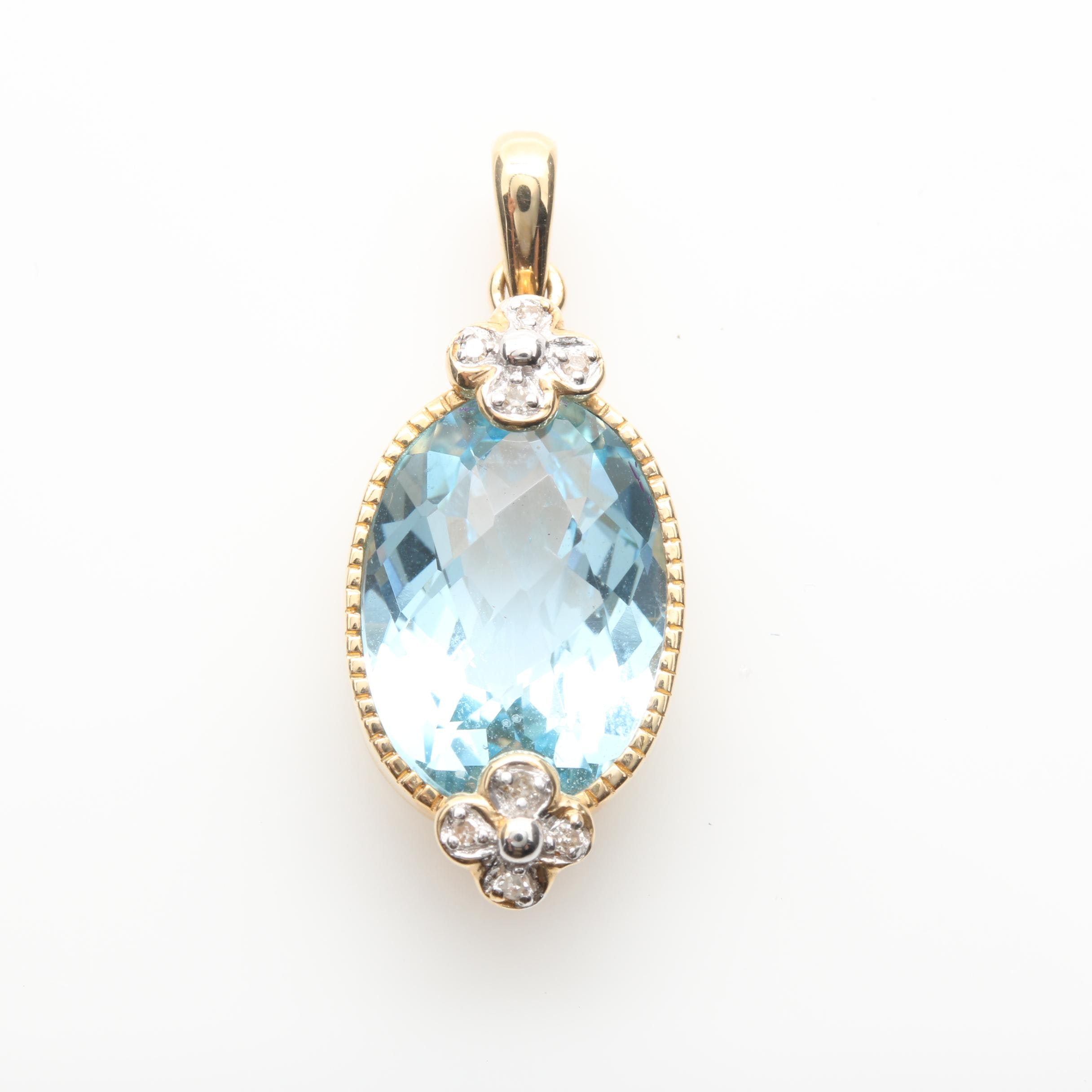 14K Yellow Gold Blue Topaz and Diamond Pendant With White Gold Accents