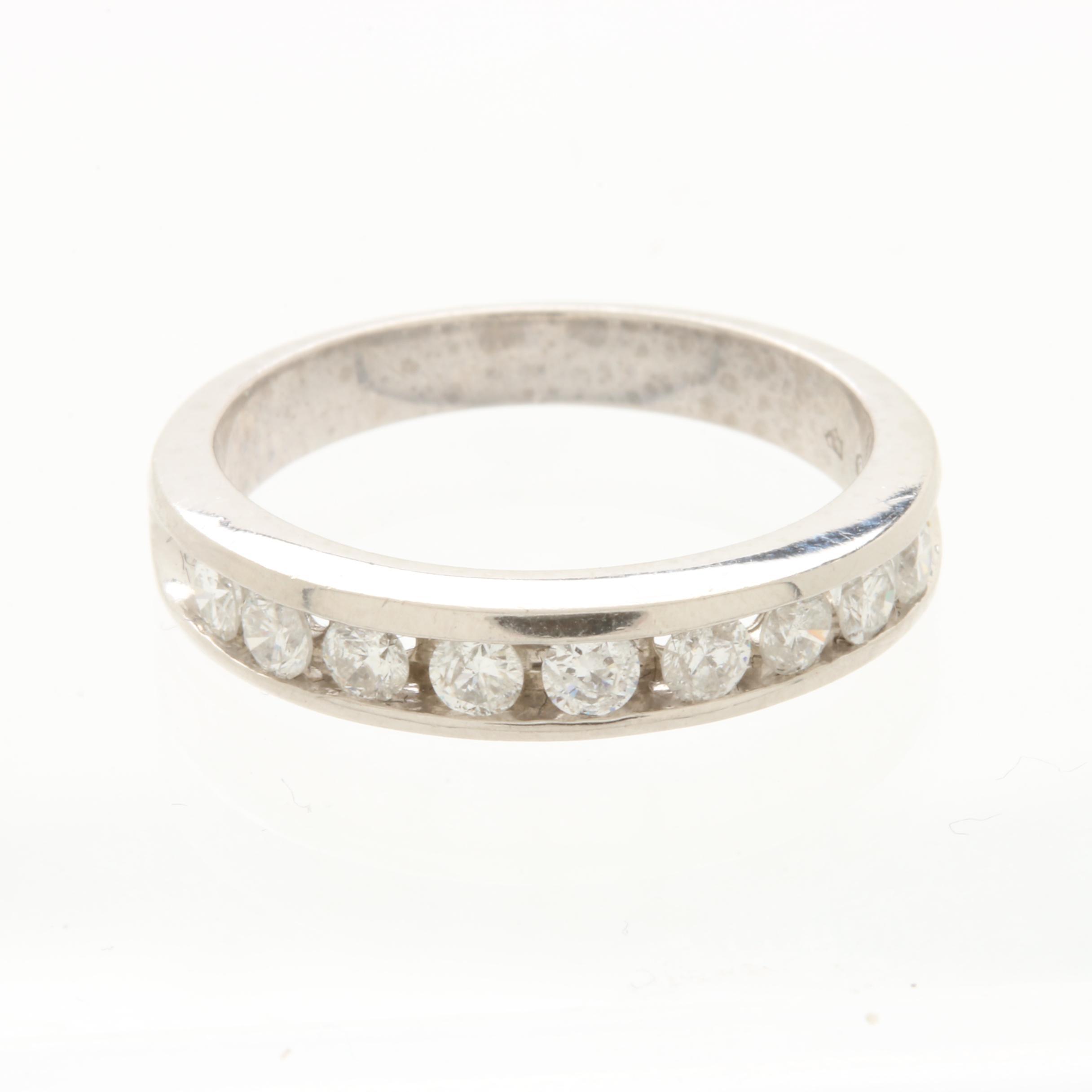 Platinum Channel Set Diamond Ring