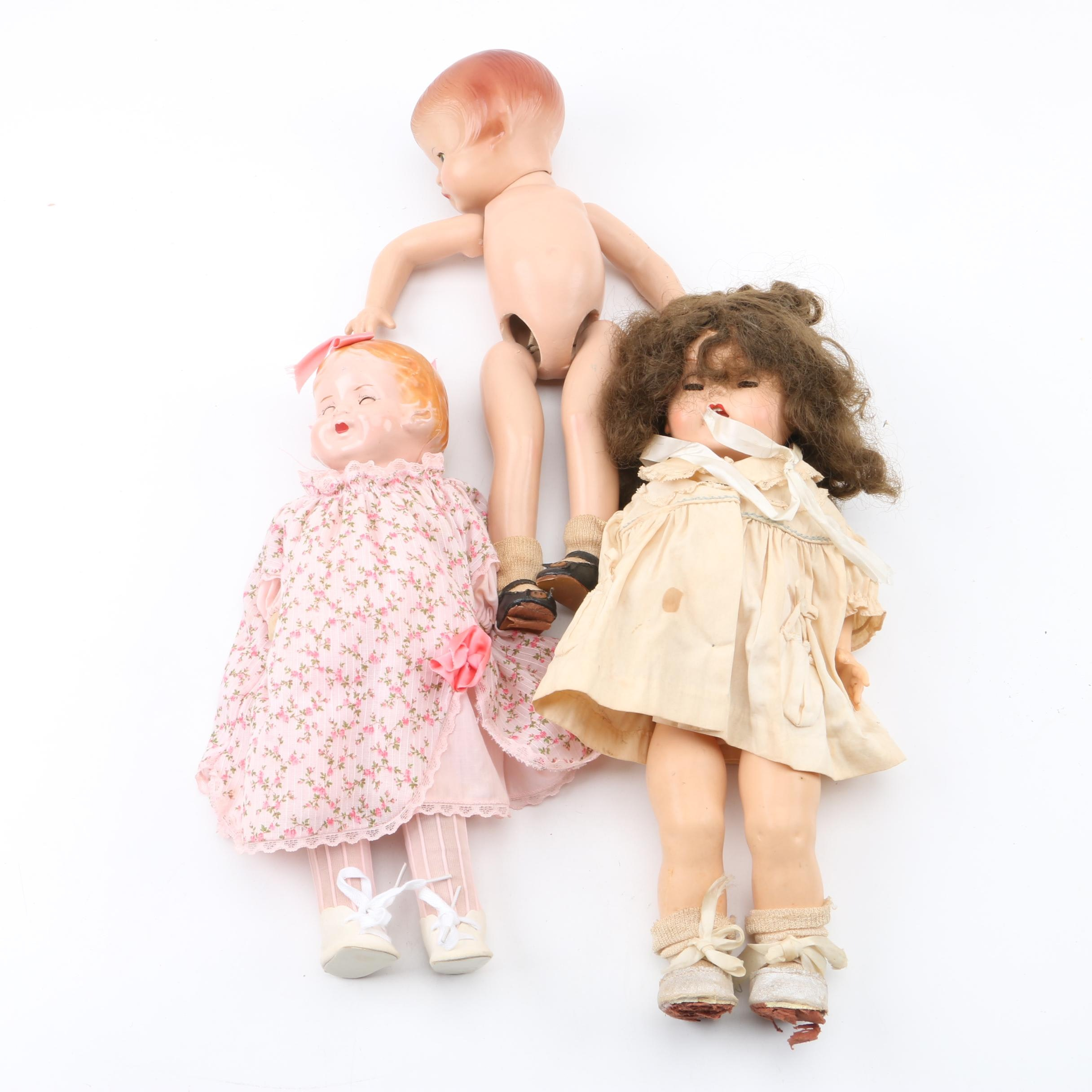 """1936 Ideal """"Suzette"""" Rubber Doll and American Character """"Sally"""" Composition Doll"""