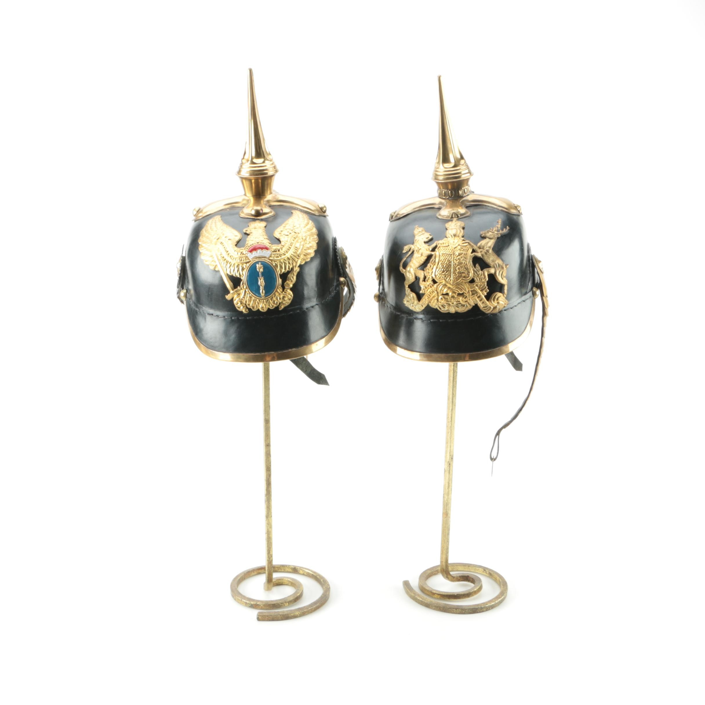 Reproduction WW1 Era Prussian Picklehaube Helmets with Stands