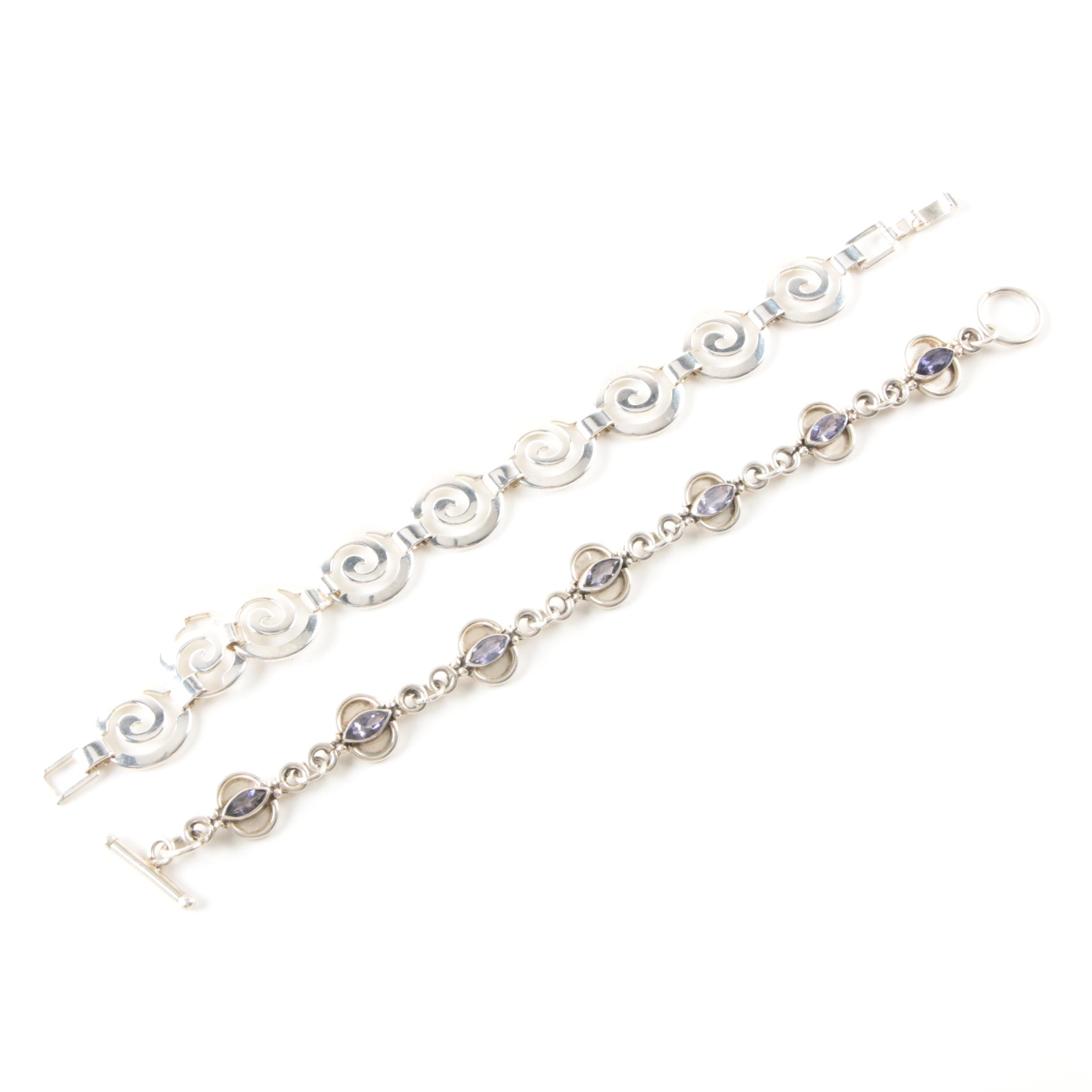 Selection of Sterling Silver Iolite Link Bracelets