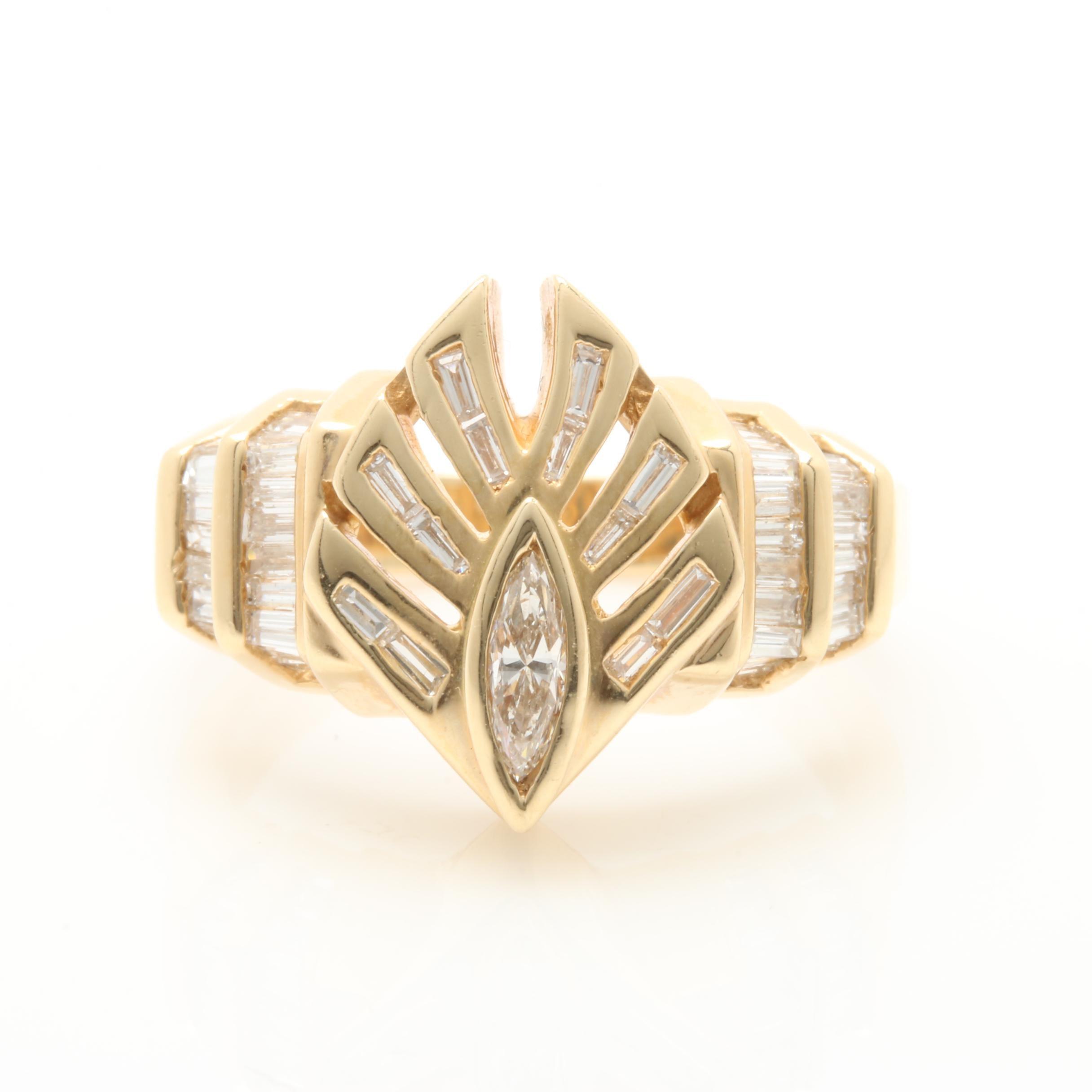 14K Yellow Gold 1.16 CTW Diamond Ring