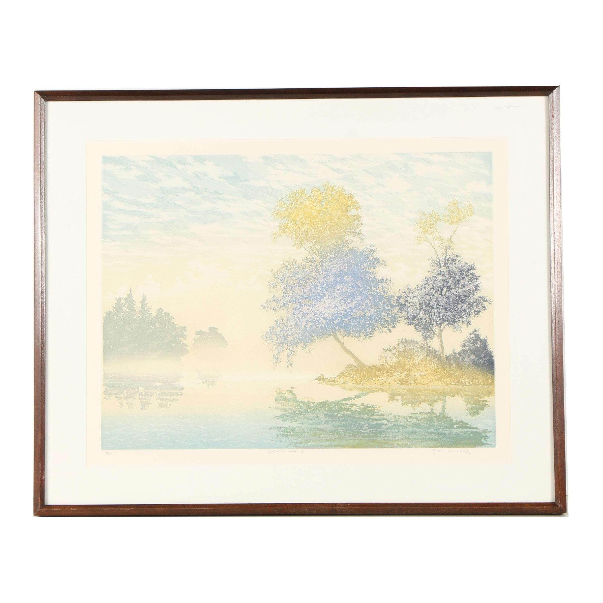 "John McNulty Limited Edition Aquatint Etching ""Autumn Lake I"""