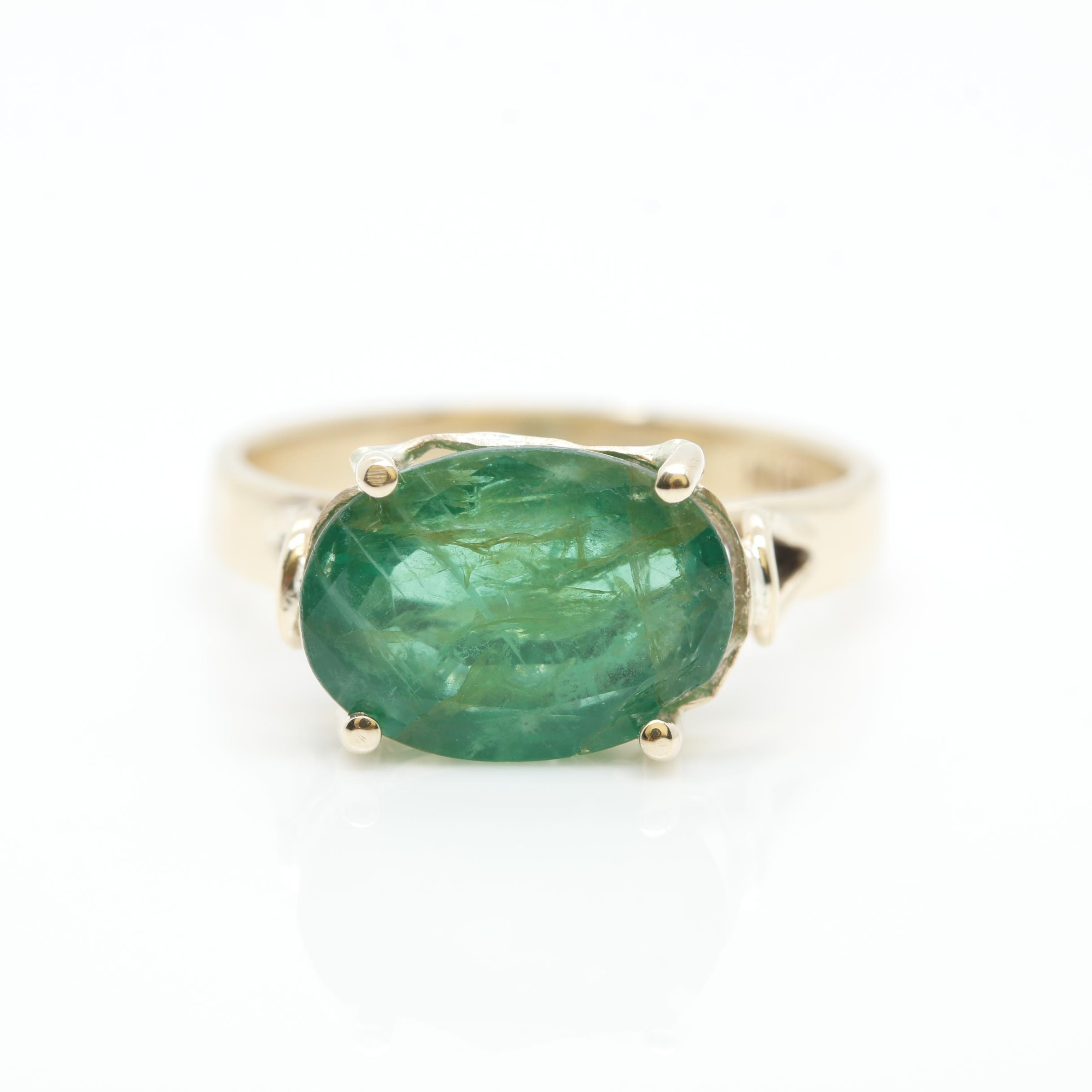 14K Yellow Gold 2.05 CT Emerald Solitaire Ring