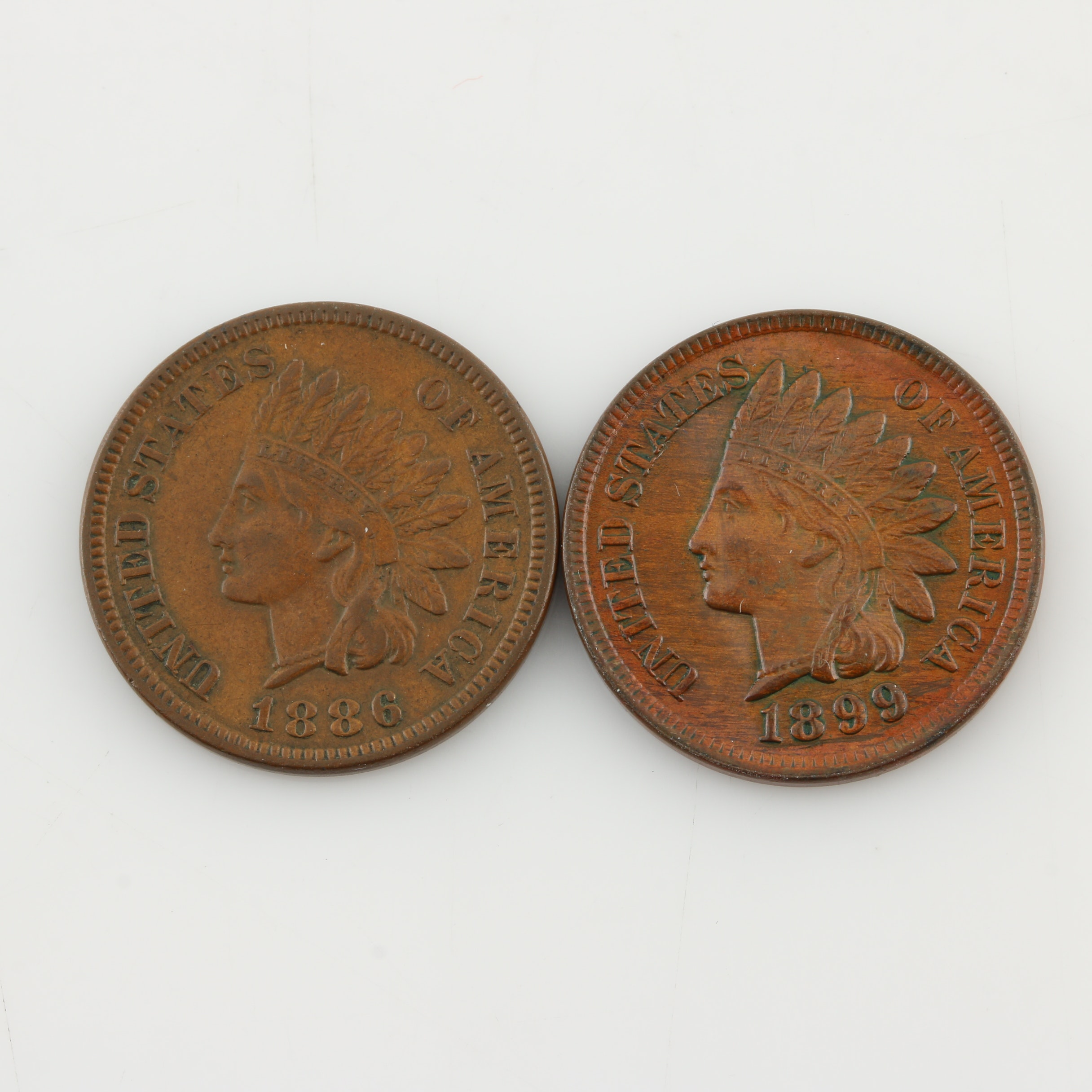 Two Indian Head Cents: 1886 and 1899