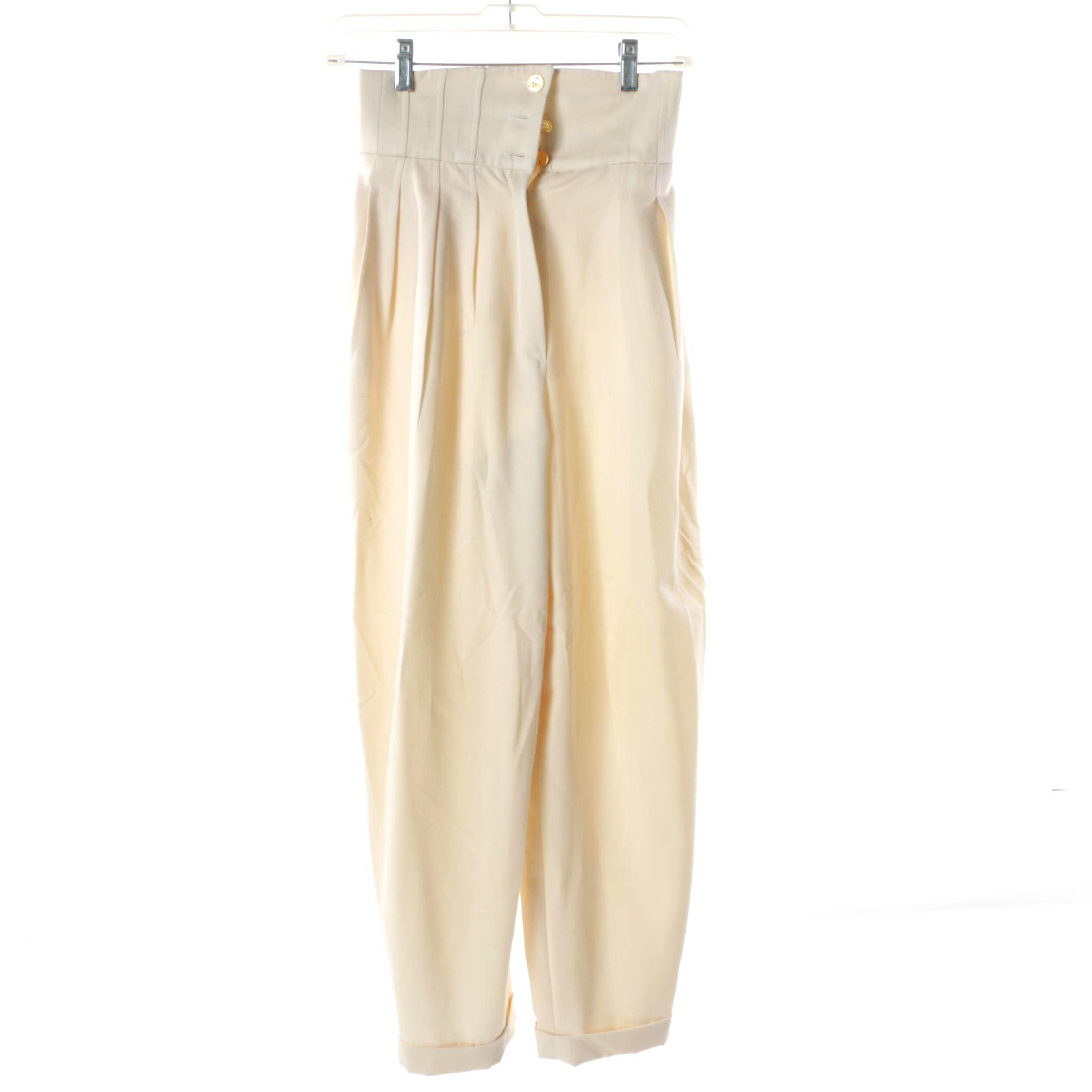 Women's 1980s Vintage Chanel Boutique Cream Silk Trousers