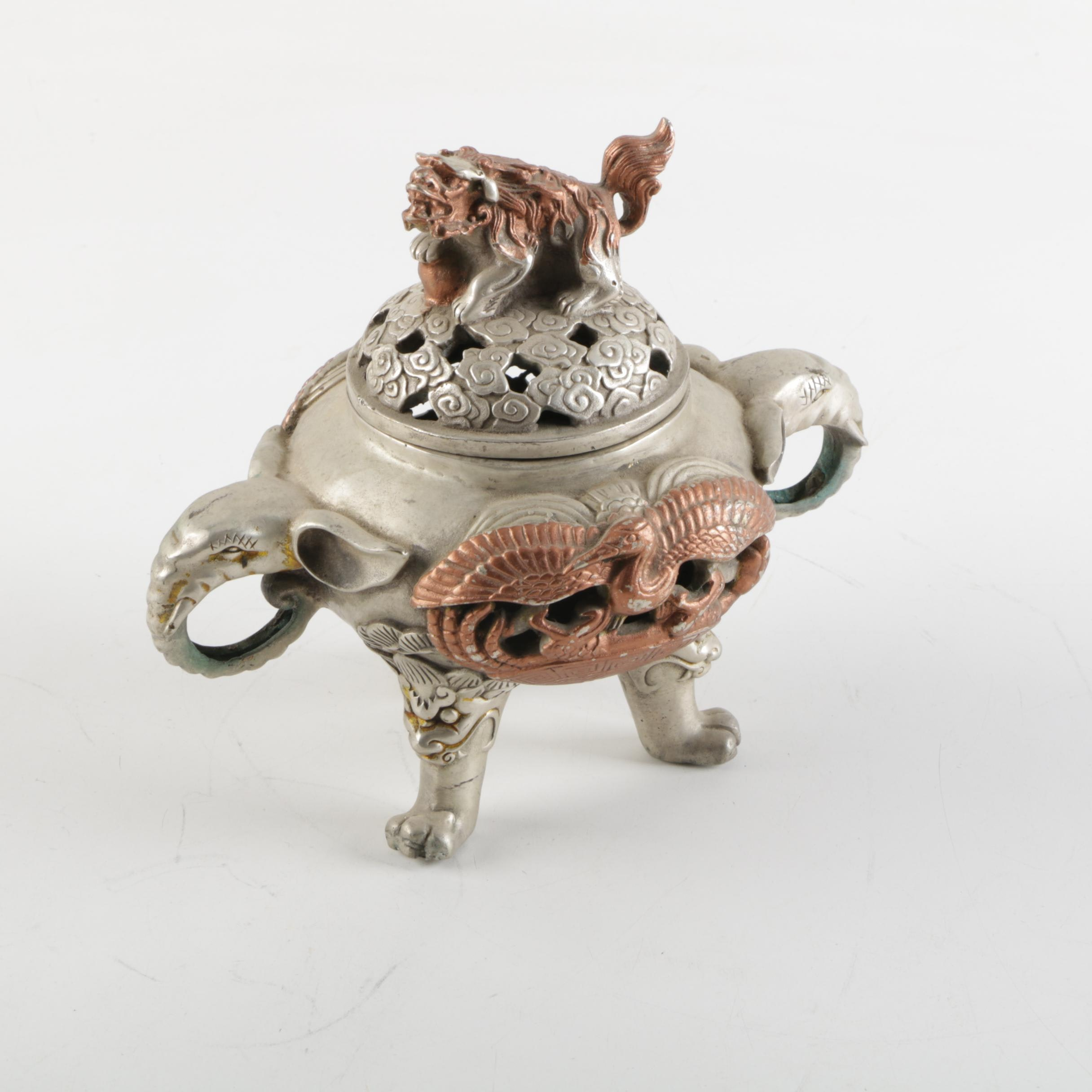 Chinese Silver Plate and Copper Censer
