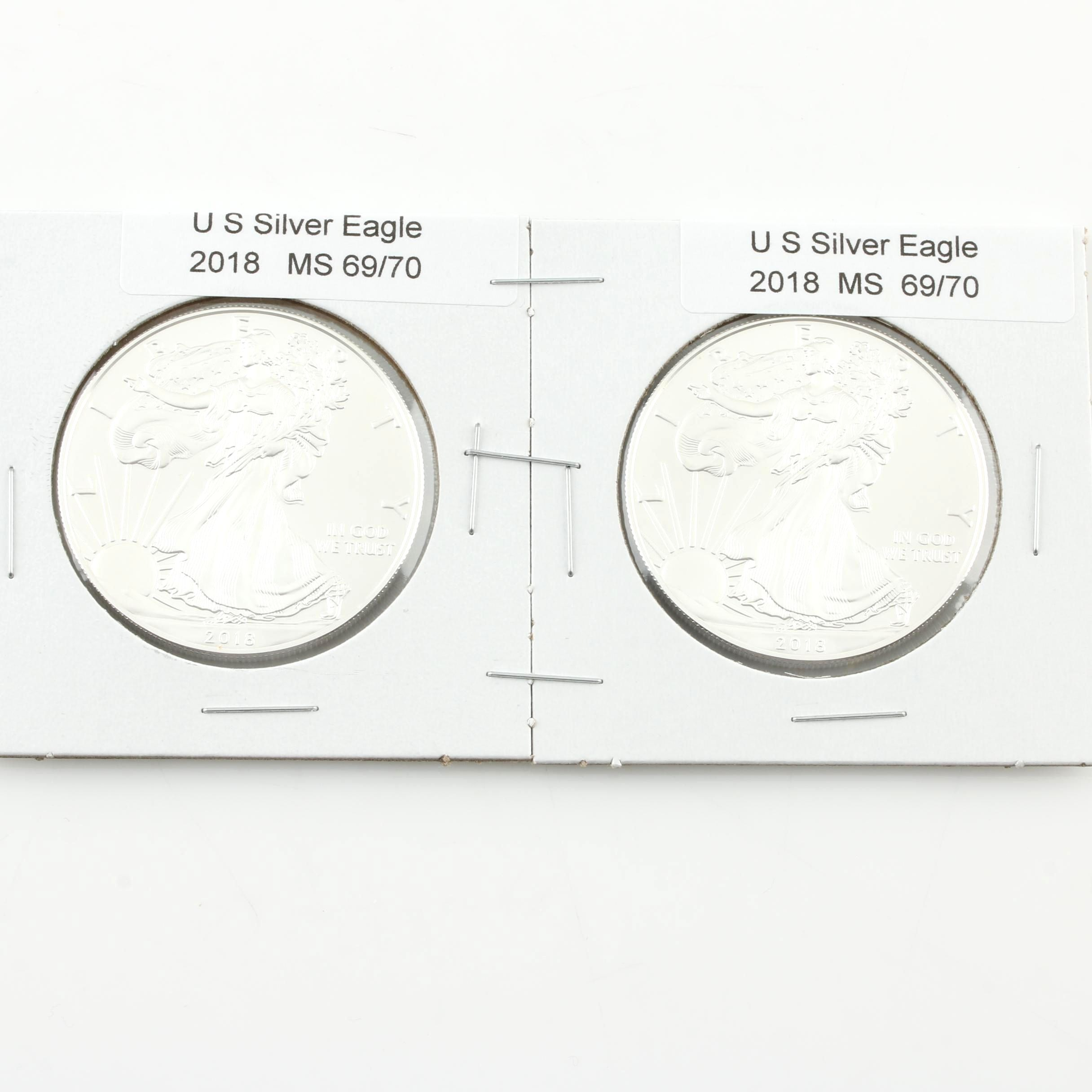 Group of Two 2018 One Dollar U.S. Silver Eagles