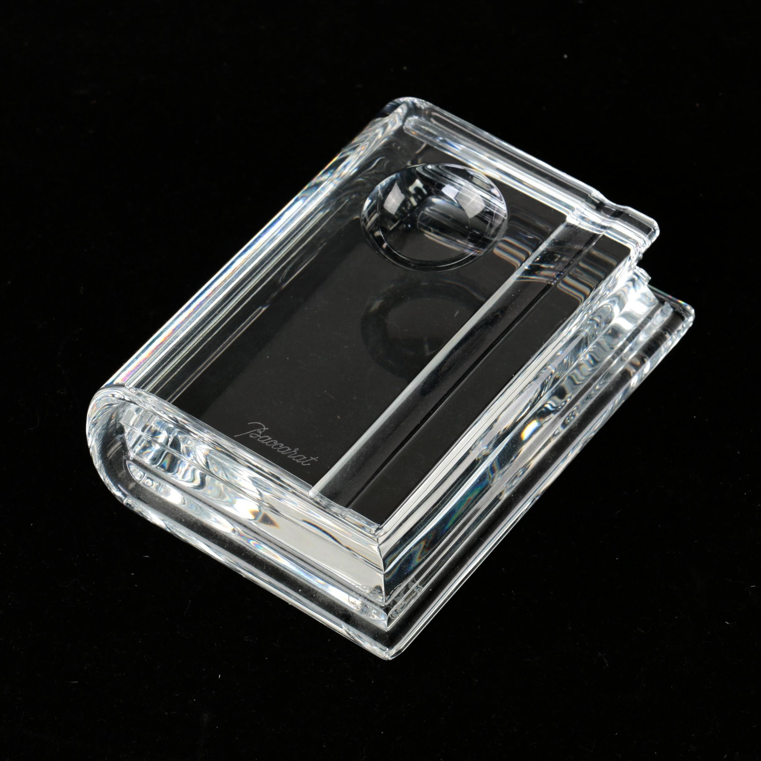 Baccarat Crystal Book, Pen Rest, and Inkwell Paperweight