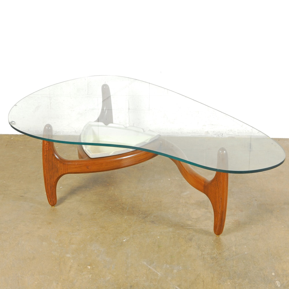 "Adrian Pearsall Mid Century Modern Coffee Table with ""Tonk"" Ceramic Insert"