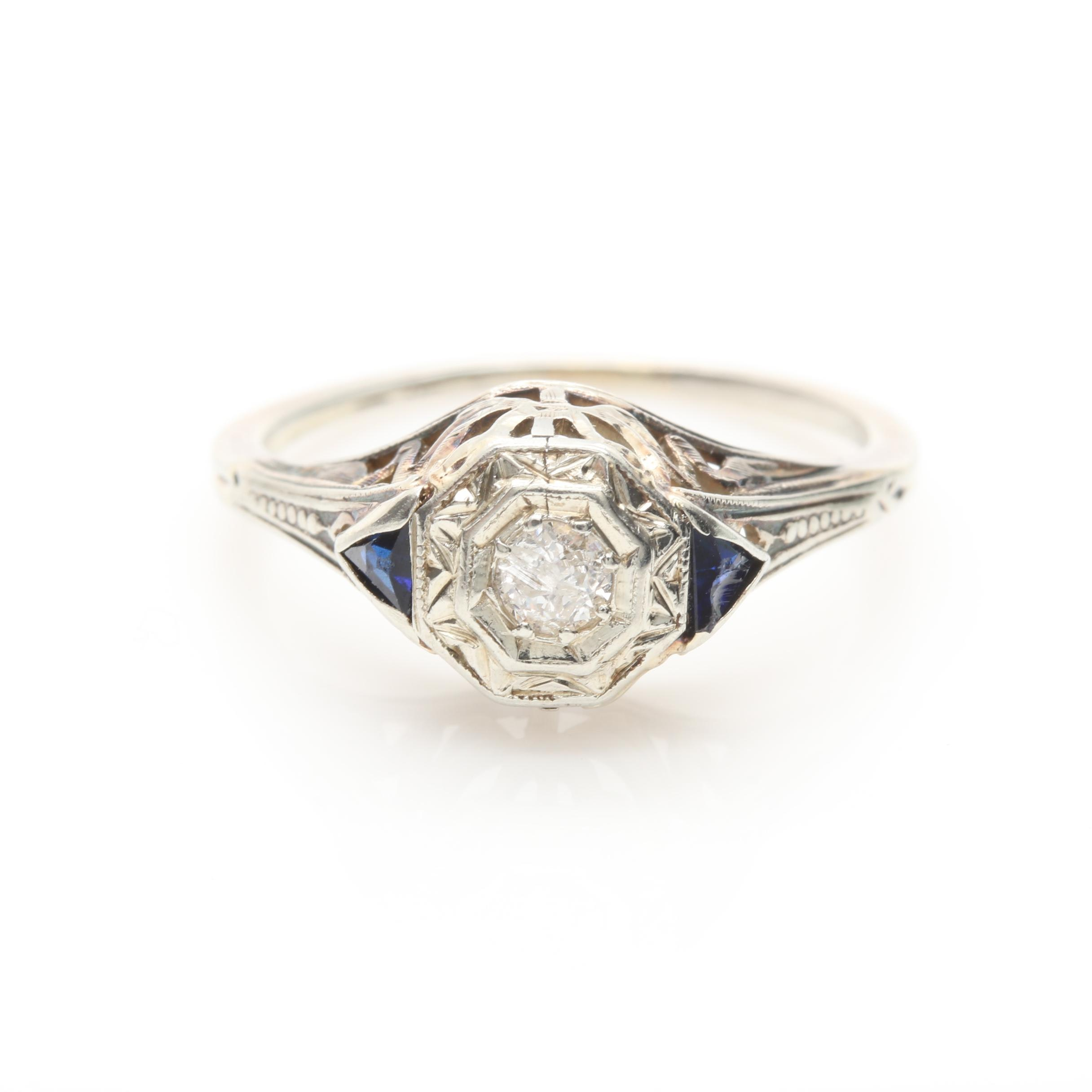 Art Deco 14K White Gold Diamond and Synthetic Blue Sapphire Ring