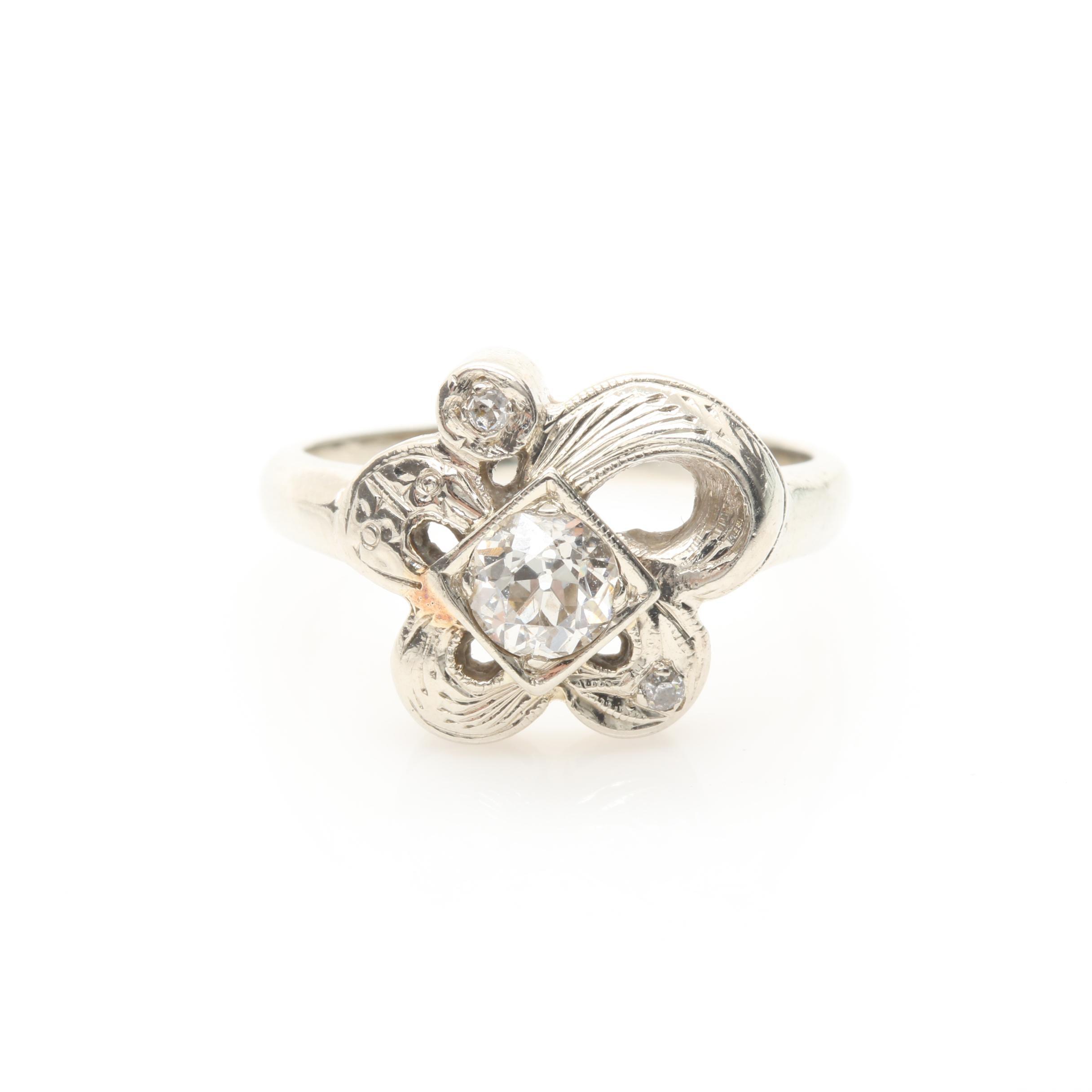 14K White Gold 0.38 CTW Diamond Ring