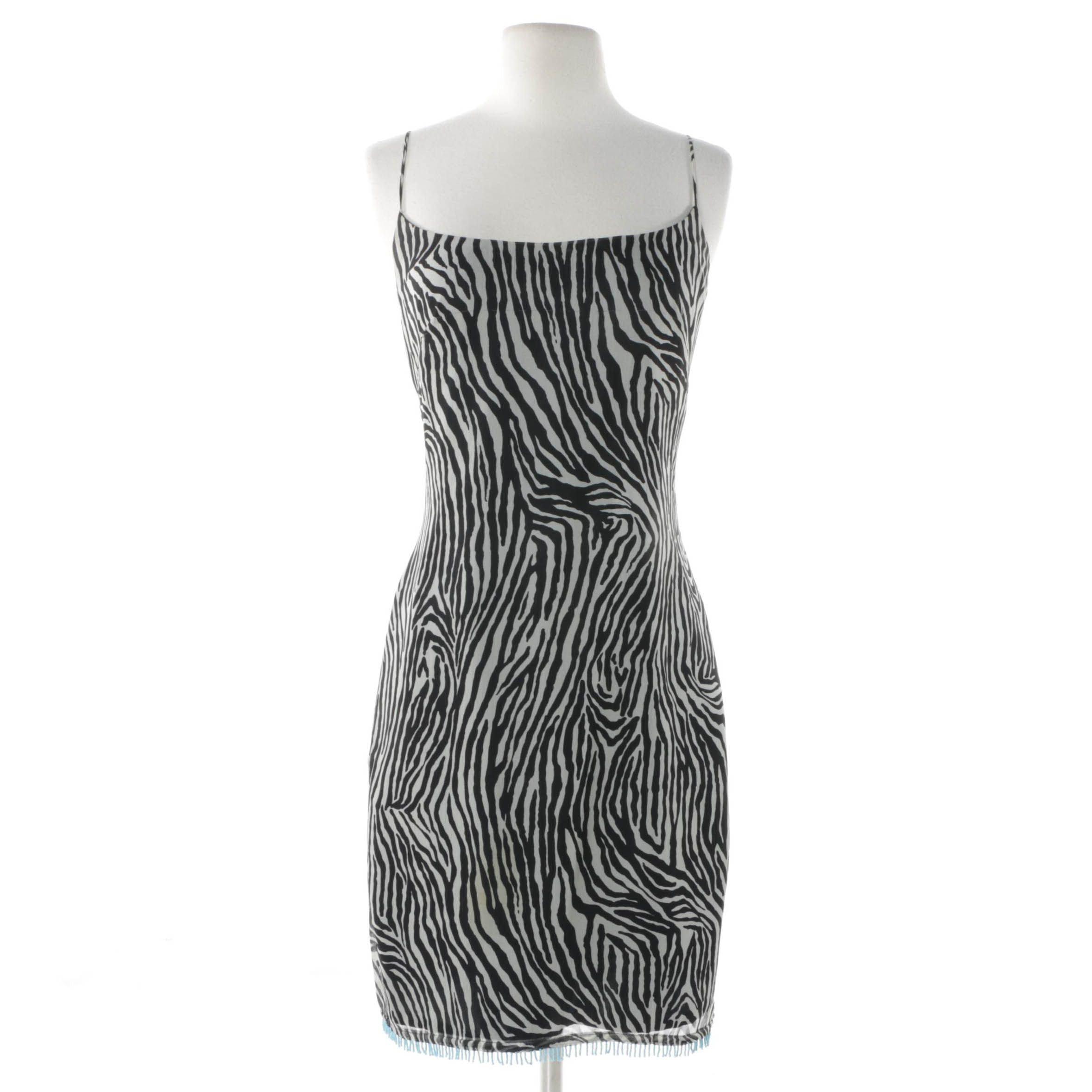 Laundry By Shelli Segal Zebra Print Sleeveless Cocktail Dress with Beaded Hem