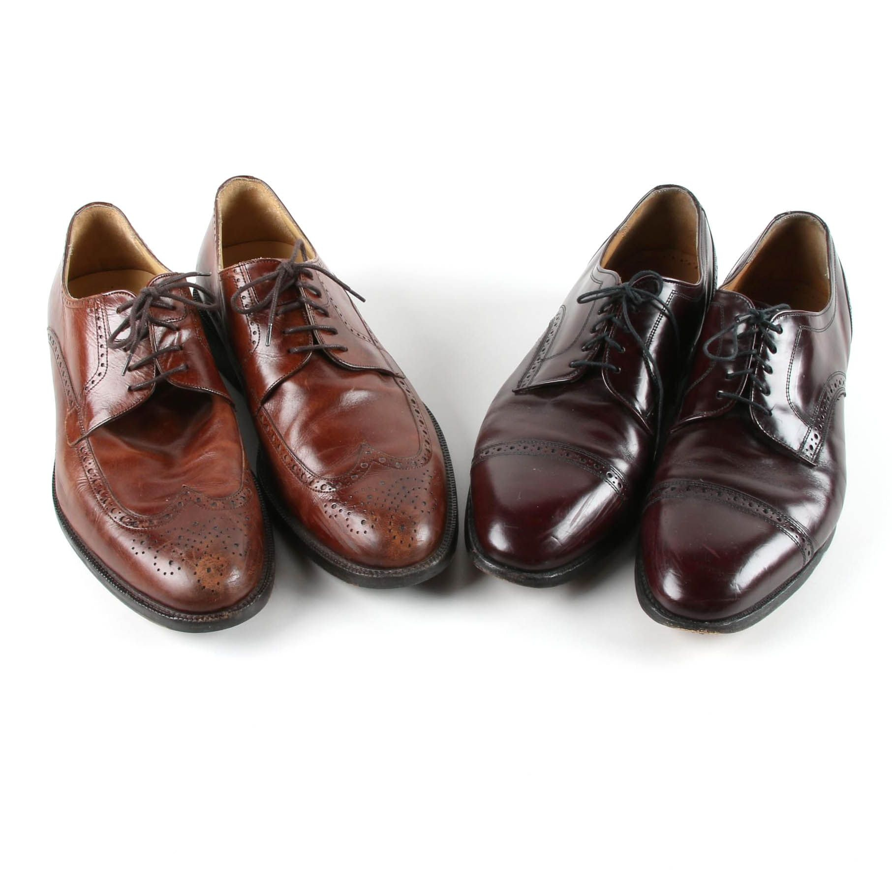 Men's Johnston & Murphy Brown Leather Wingtip and Cap-Toe Oxfords