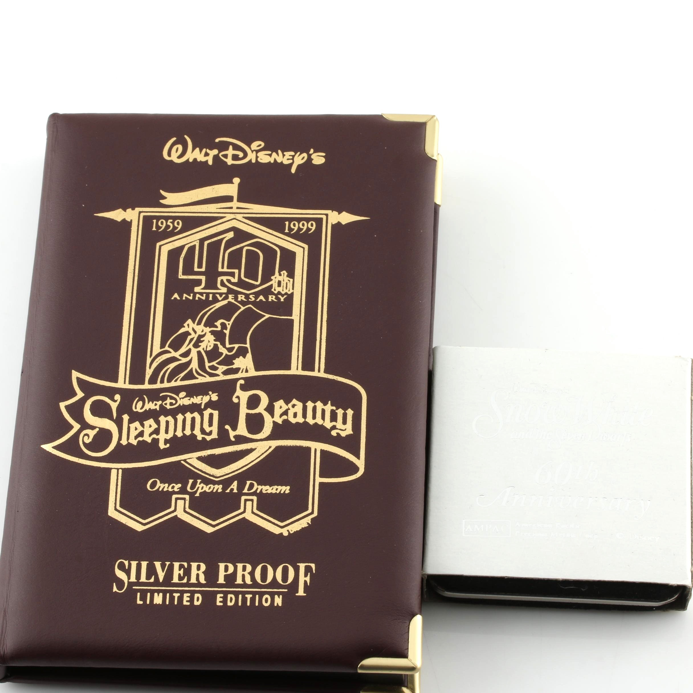 Group of Two Walt Disney's Silver Commemorative Proof Bullion Coins