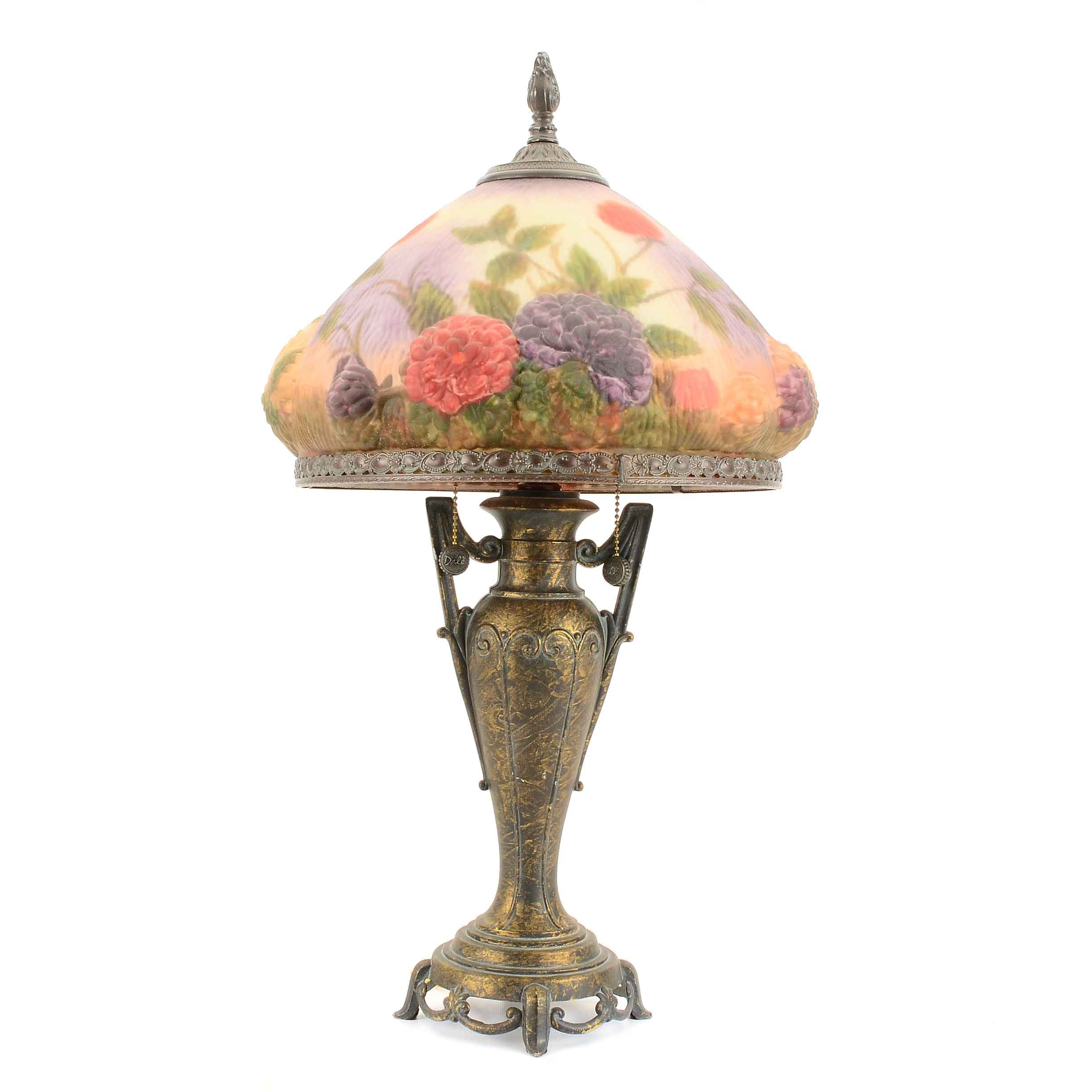 Table Lamp with Reverse-Painted Shade