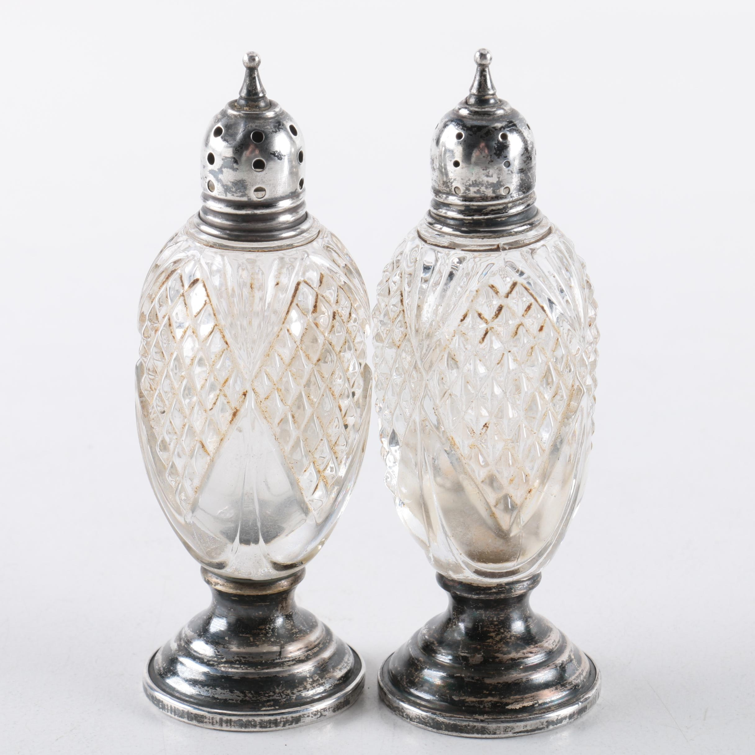 Vintage Sheffield Silver Co. Sterling and Crystal Salt and Pepper Shakers