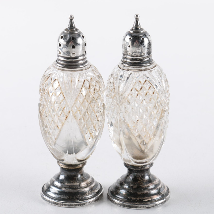 Vintage Sheffield Silver Co Sterling And Crystal Salt And Pepper