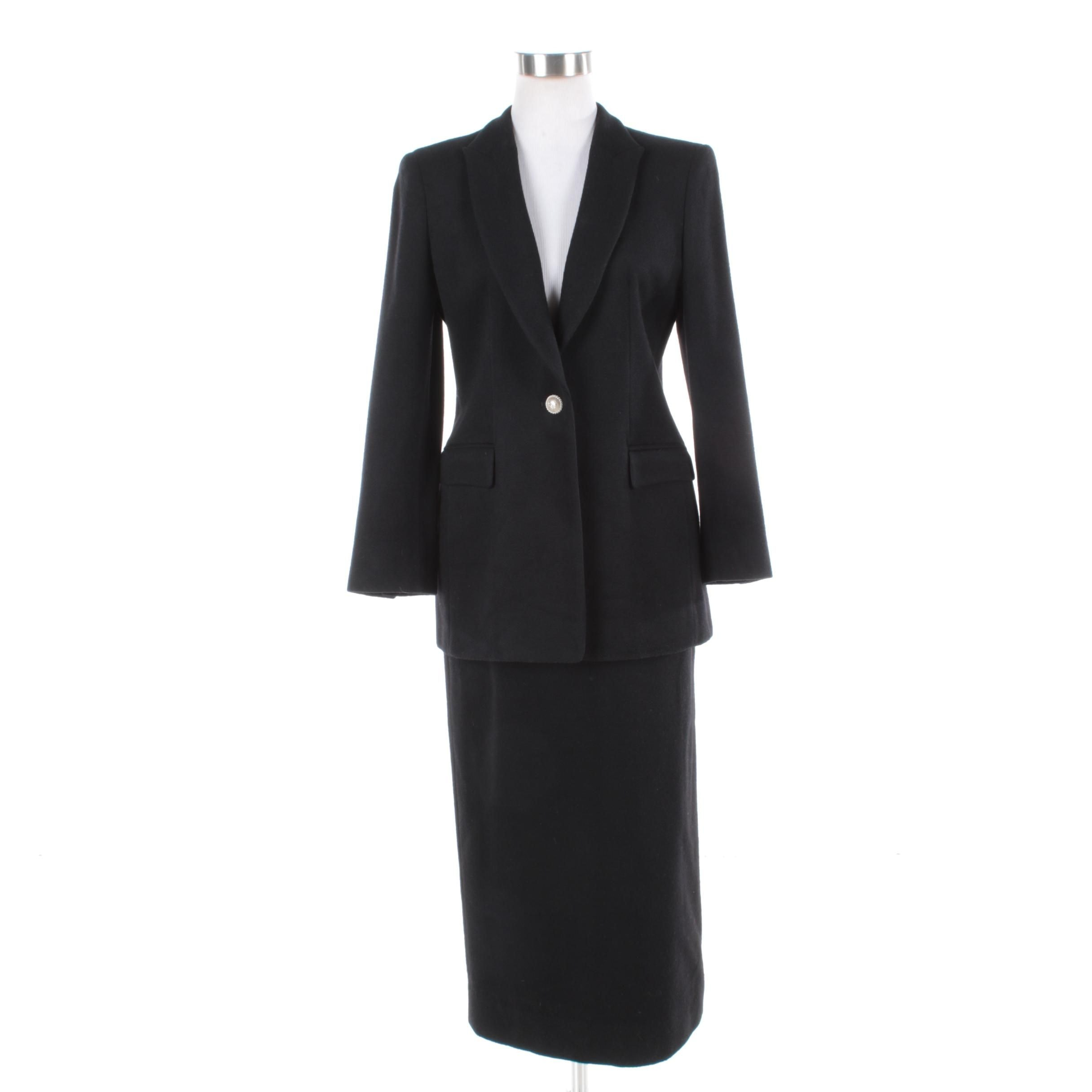Women's Henry And Y Couture Black Wool Blend Skirt Suit