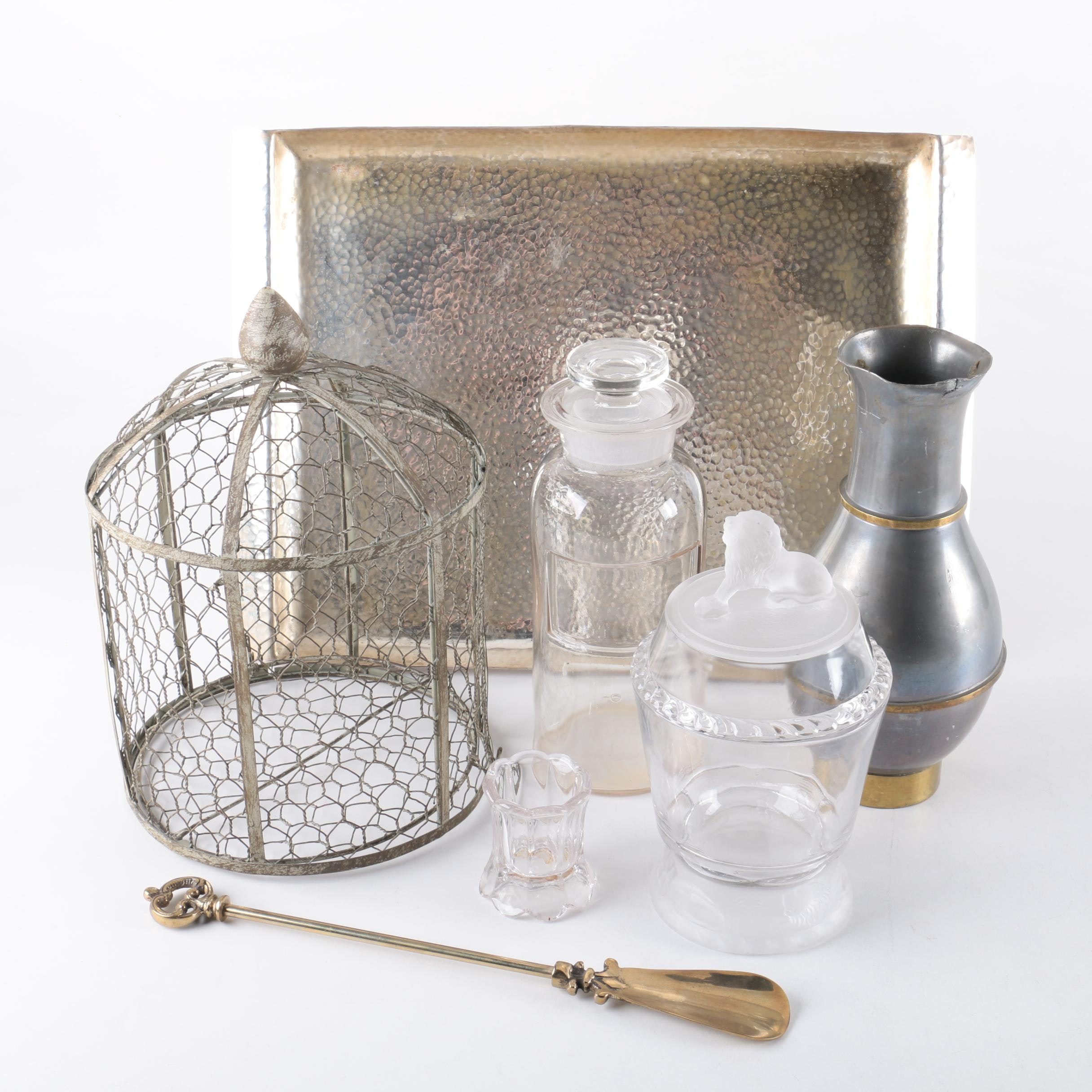 Metal Tray with Glass Canisters and Wire Garden Cloche