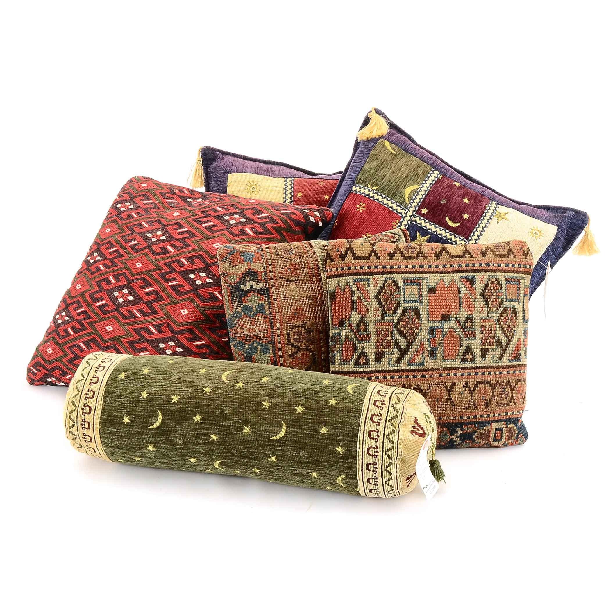 Assortment of Decorative Throw Pillows