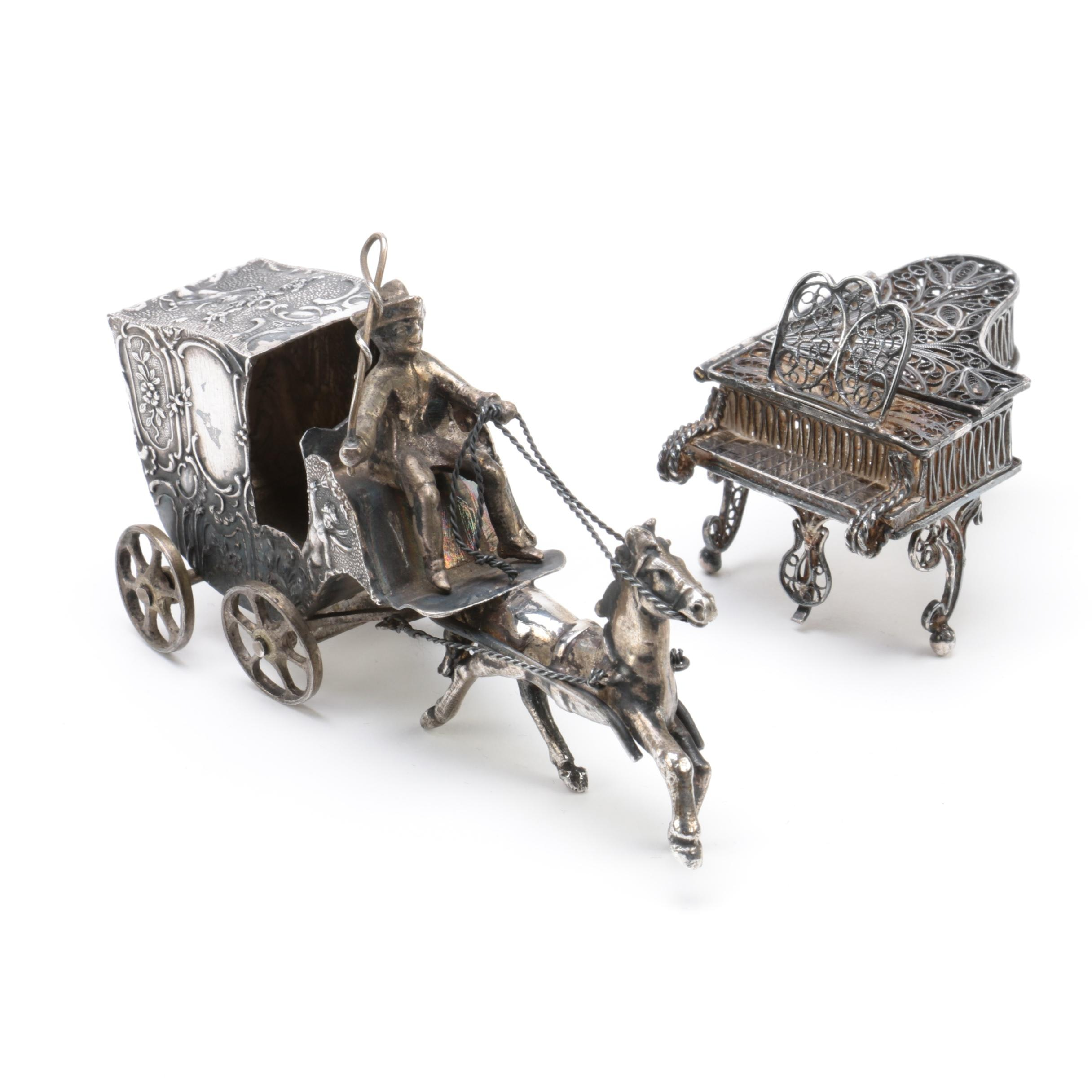 800 Silver Miniature Carriage and Filigree Piano Figurines