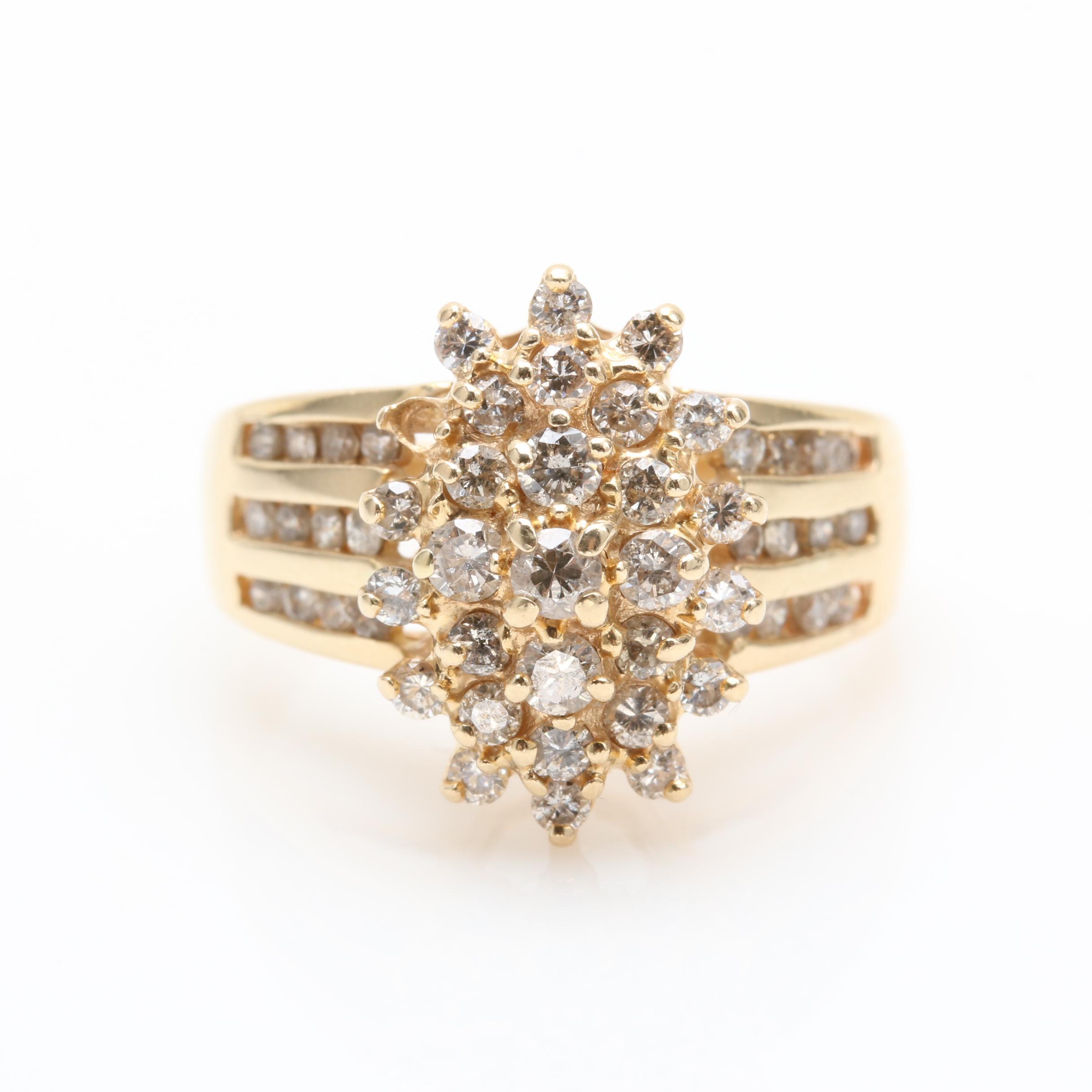 14K Yellow Gold 0.96 CTW Diamond Ring
