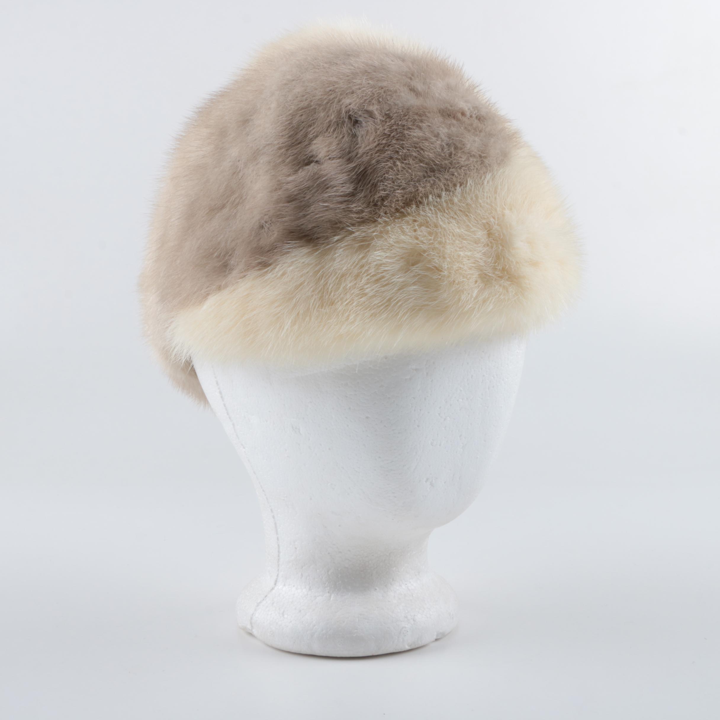 Women's Vintage Adolfo Réalités Mink Fur Cloche Cap