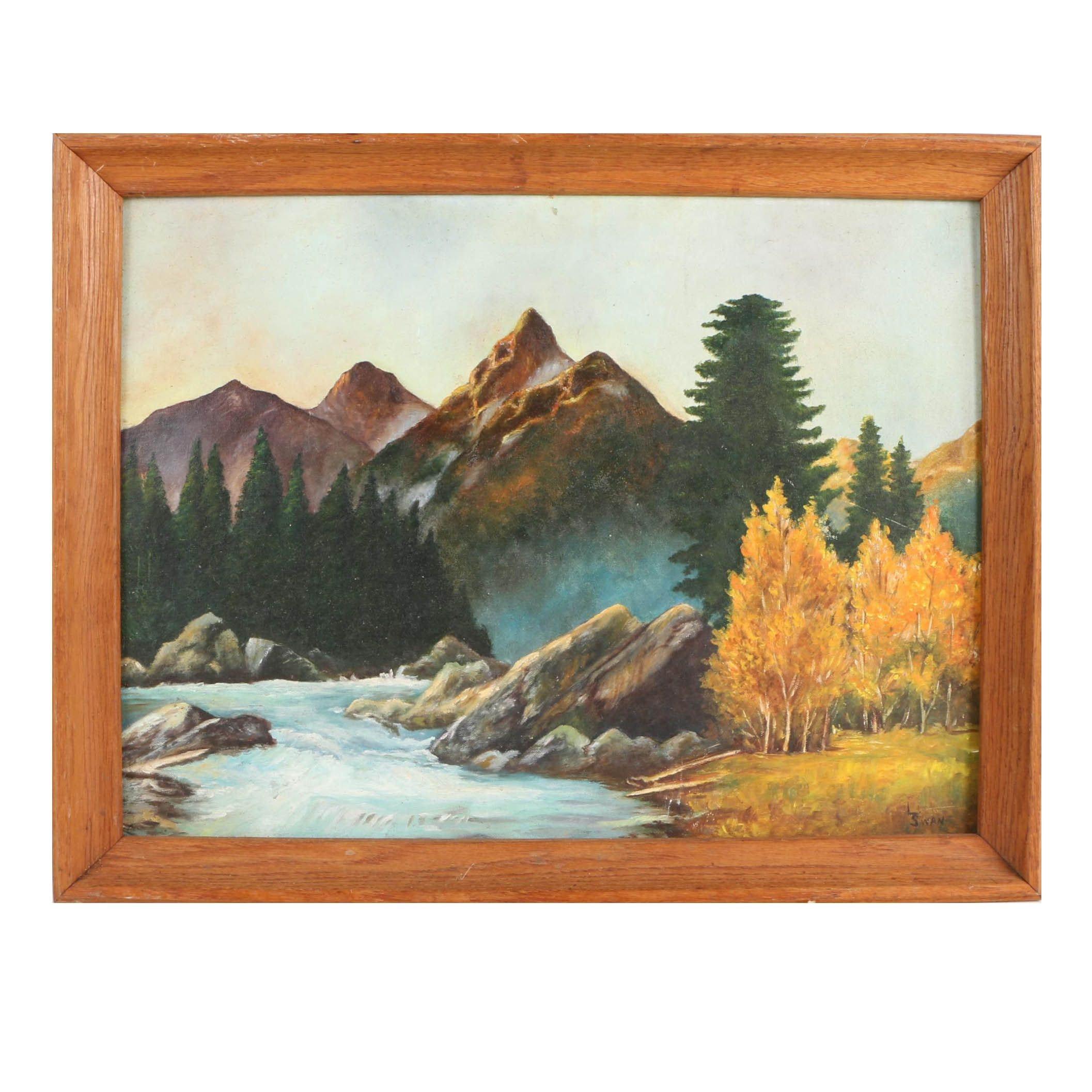 L. Swan Oil Landscape Painting