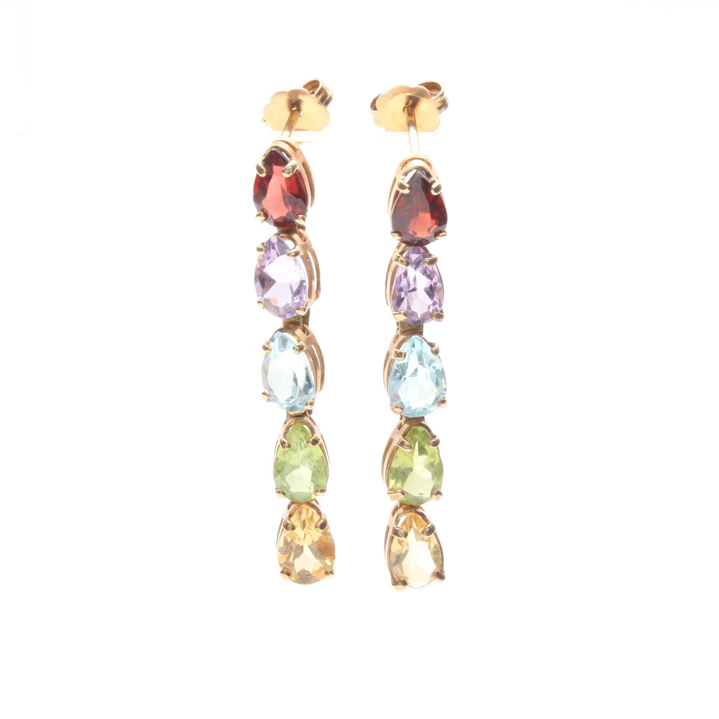 14K Yellow Gold Multi Gemstone Drop Earrings