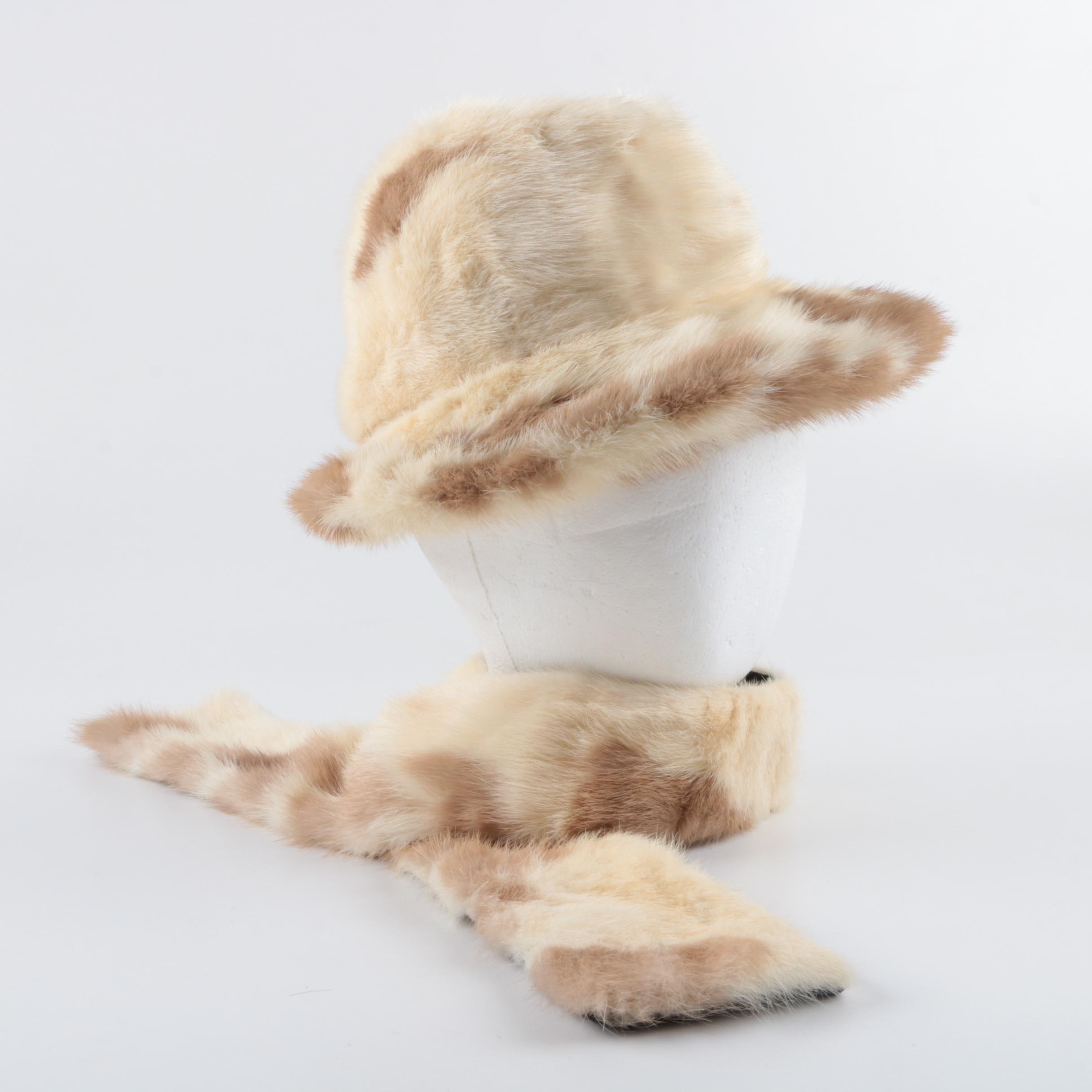 Bullock's Wilshire Mink Fur Hat and Scarf