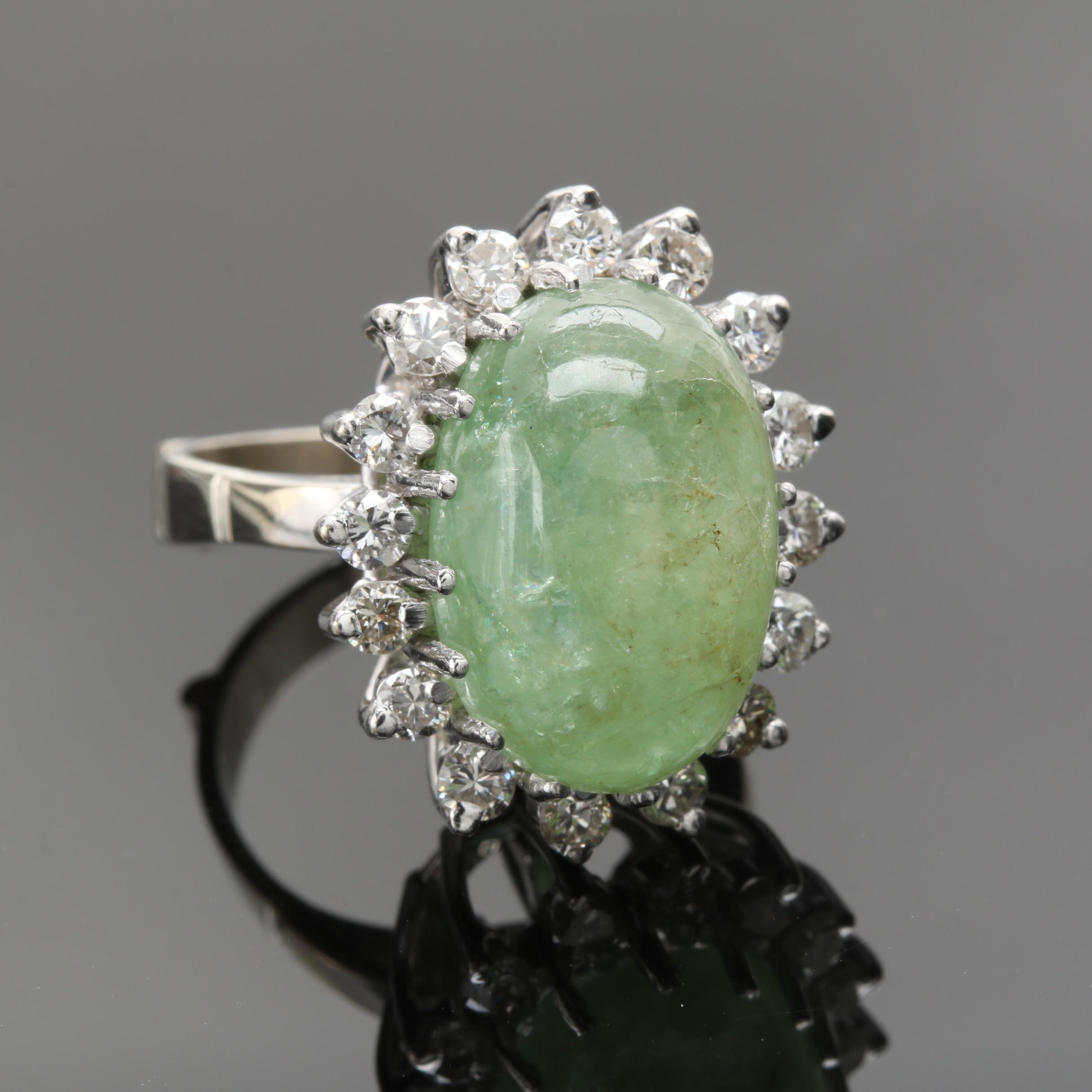 14K White Gold Green Beryl and 0.96 CTW Diamond Ring Pendant