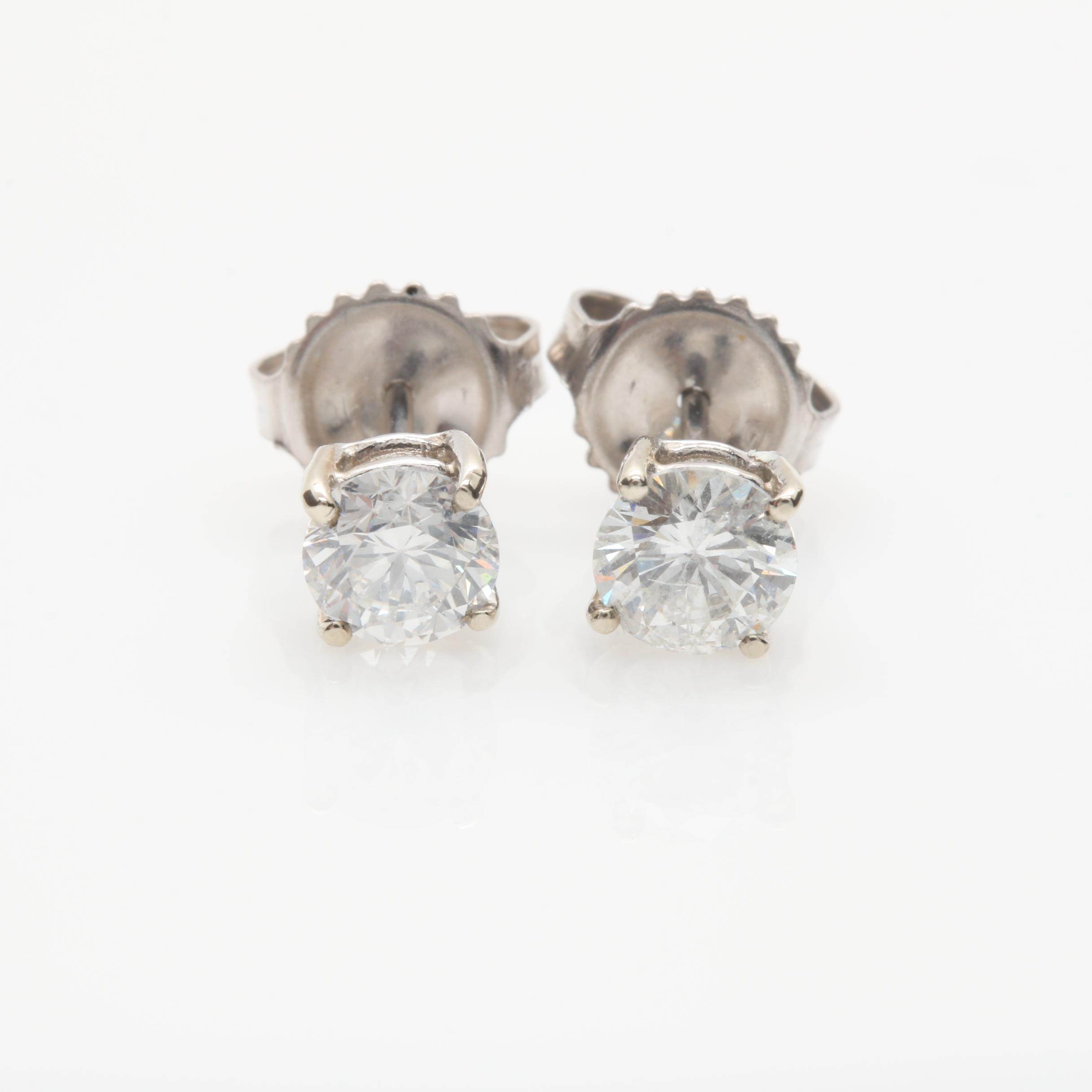 14K White Gold 0.98 CTW Diamond Stud Earrings