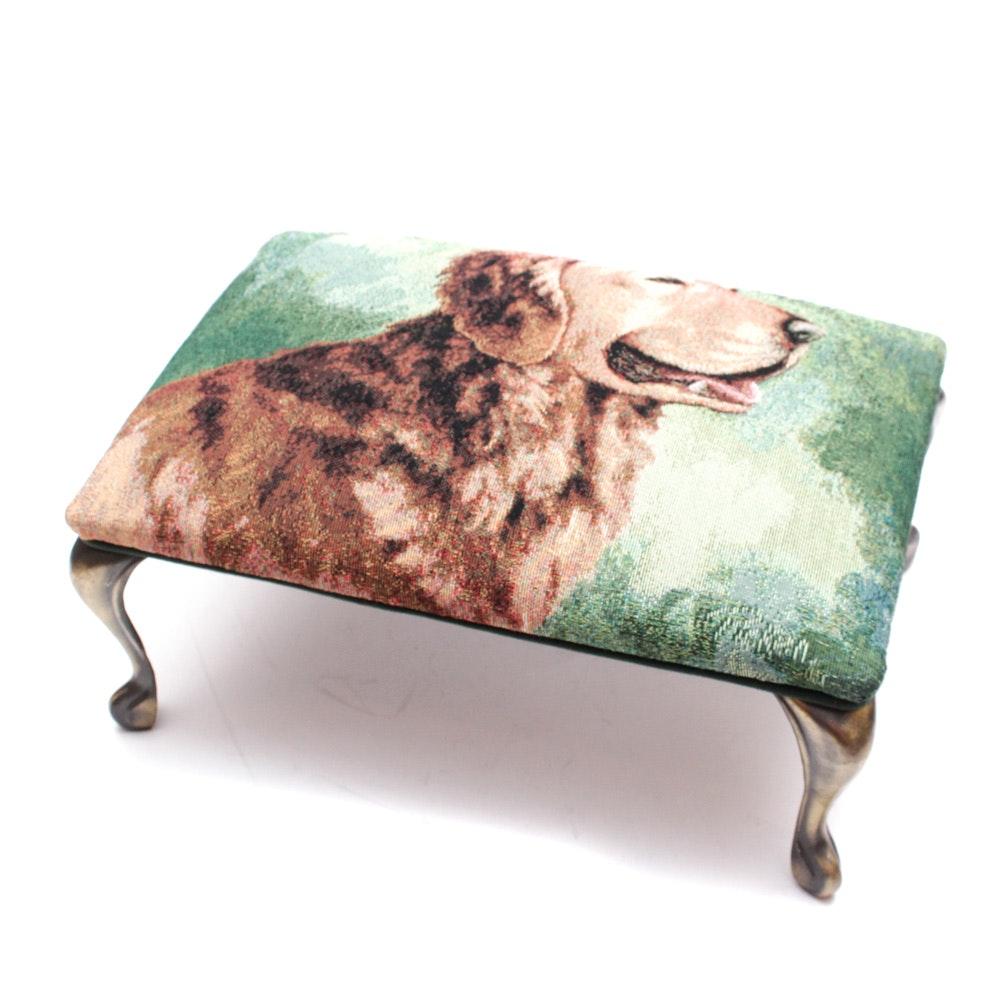 Golden Retriever Footstool with Metal Legs