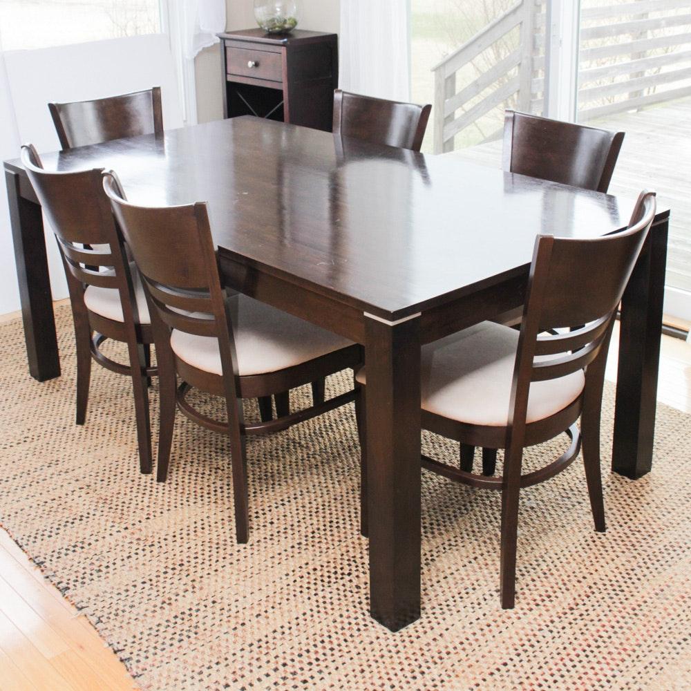 Wood Veneer Dining Table and Chair Set