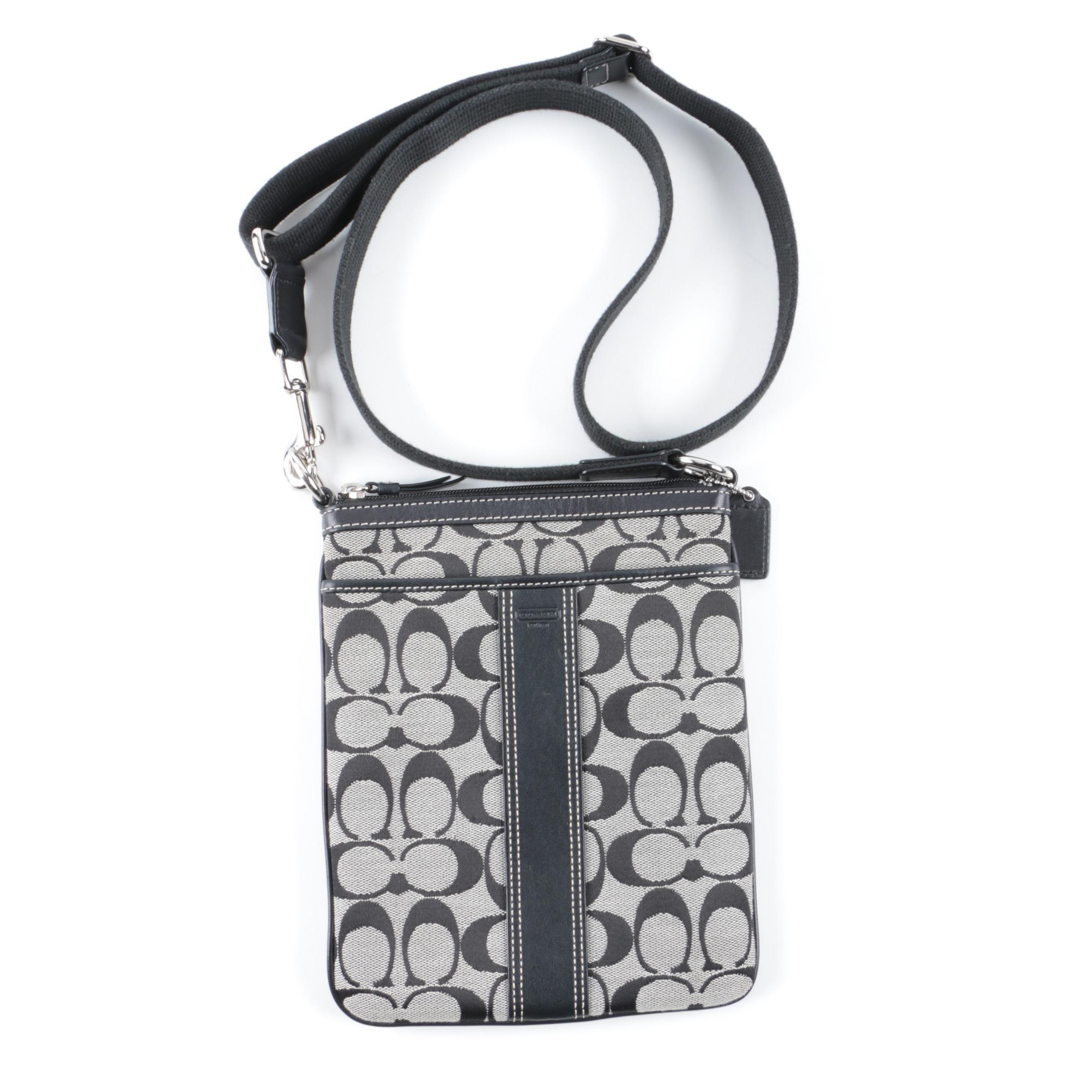 coach signature stripe grey and black canvas crossbody bag ebth rh ebth com