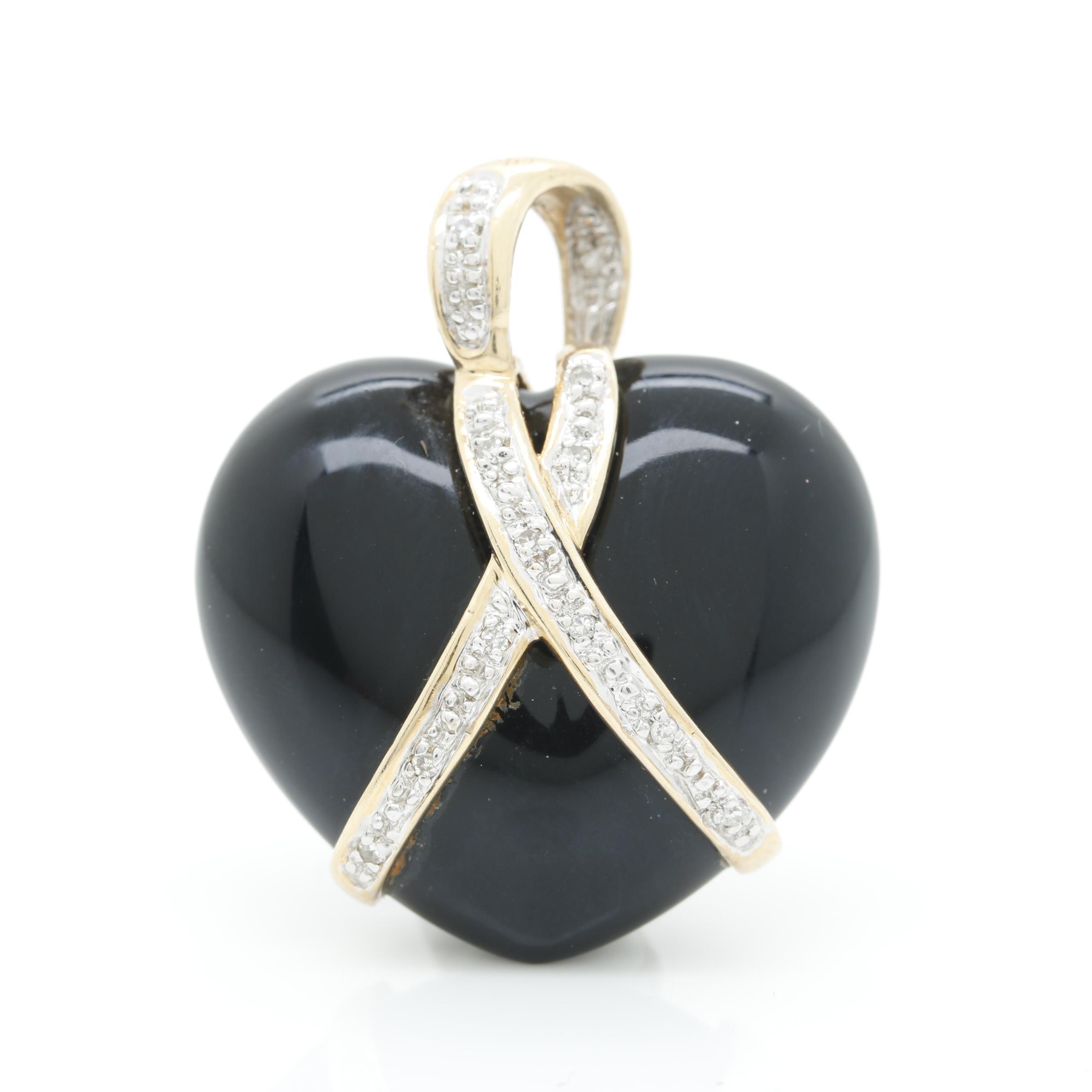 14K Yellow Gold Onyx and Diamond Heart Pendant