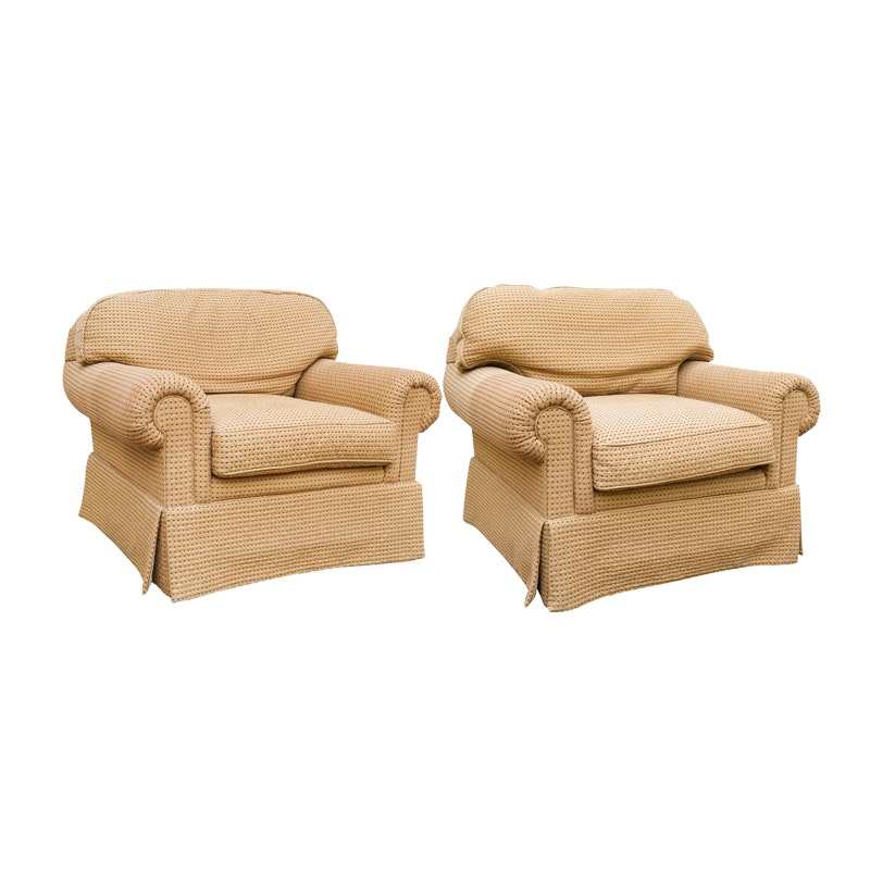 Delicieux Matching Pair Of Upholstered Easy Chairs By E.J. Victor ...