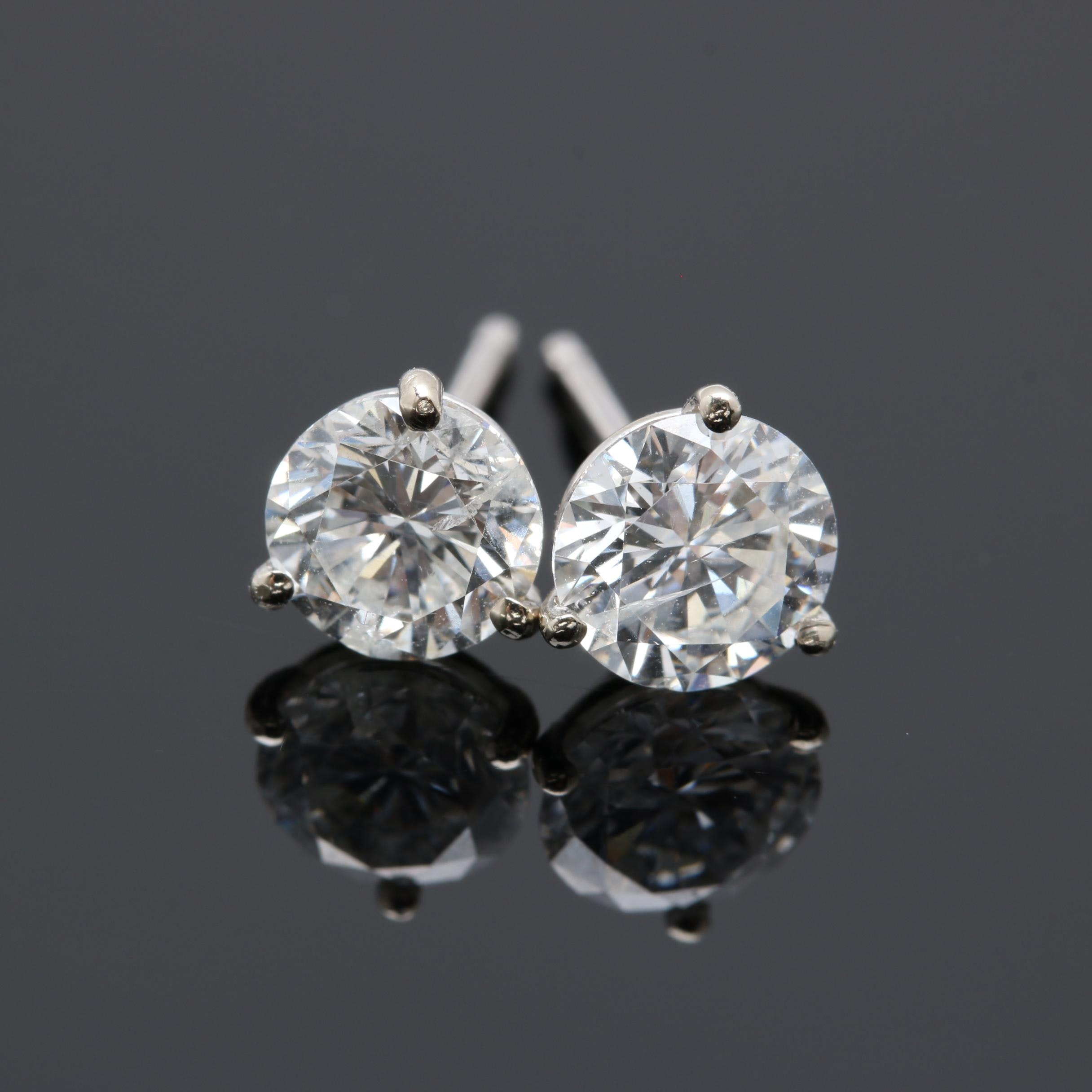 14K White Gold 1.27 CTW Diamond Stud Earrings