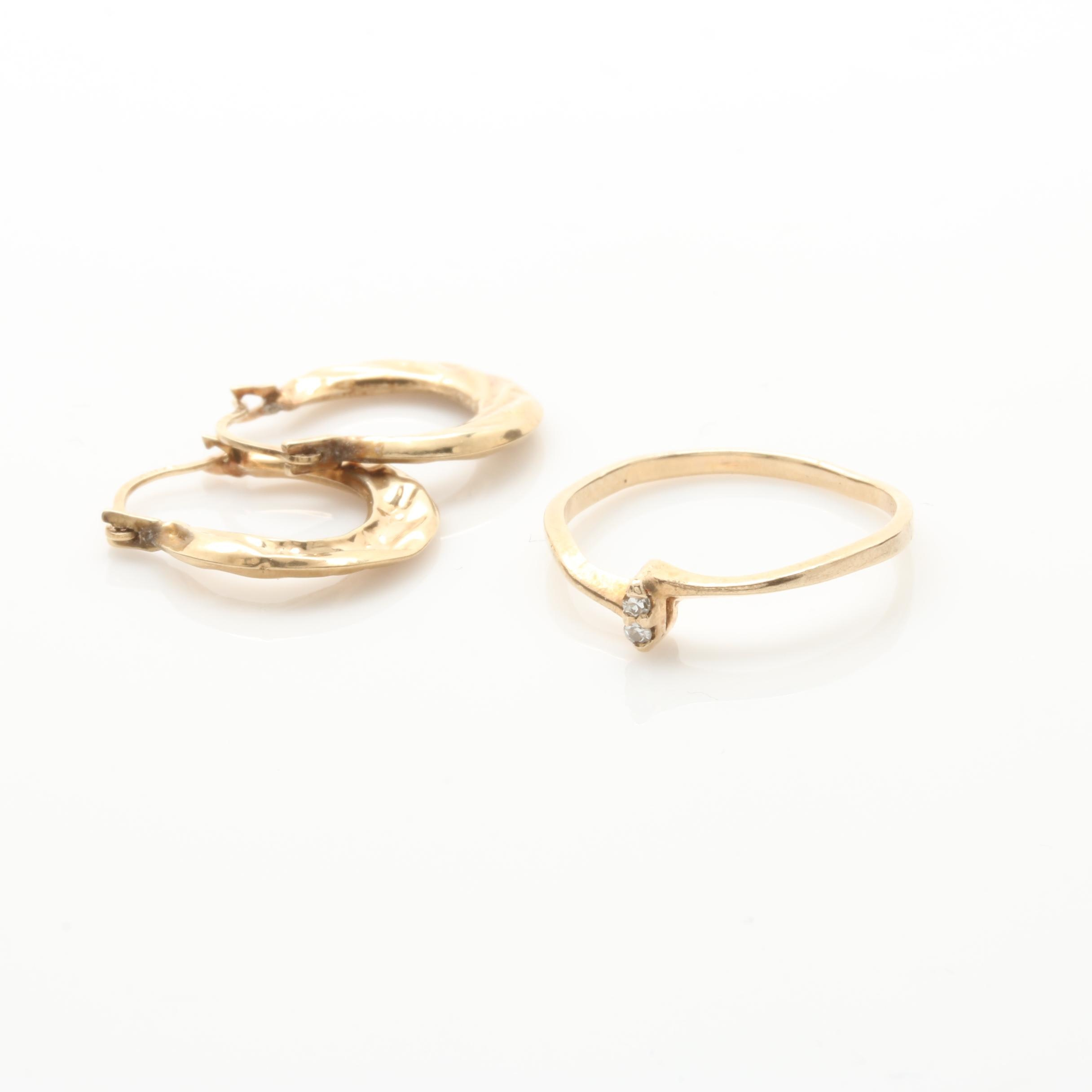 10K Yellow Gold Diamond Ring and Earrings