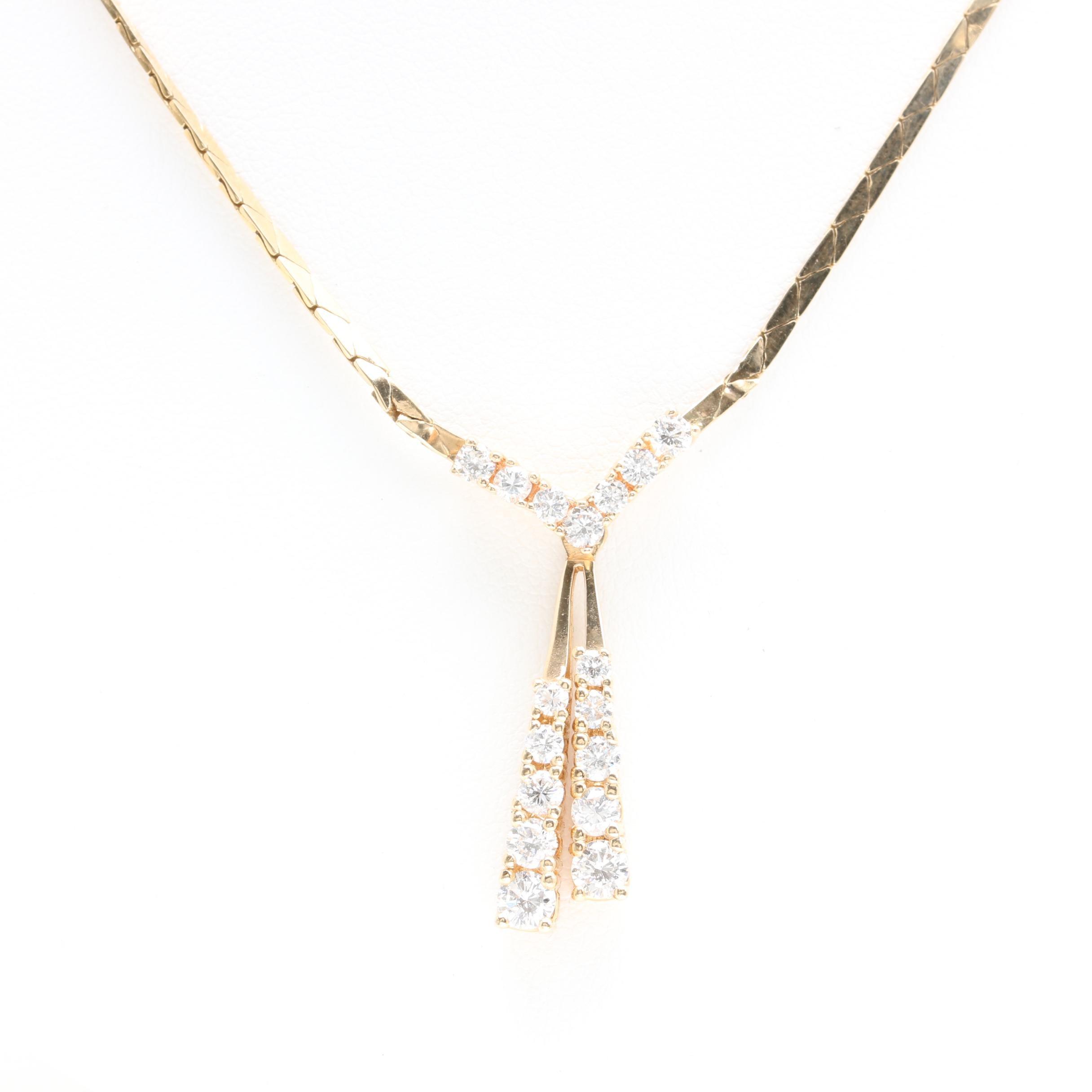 14K Yellow Gold 1.34 CTW Diamond Necklace