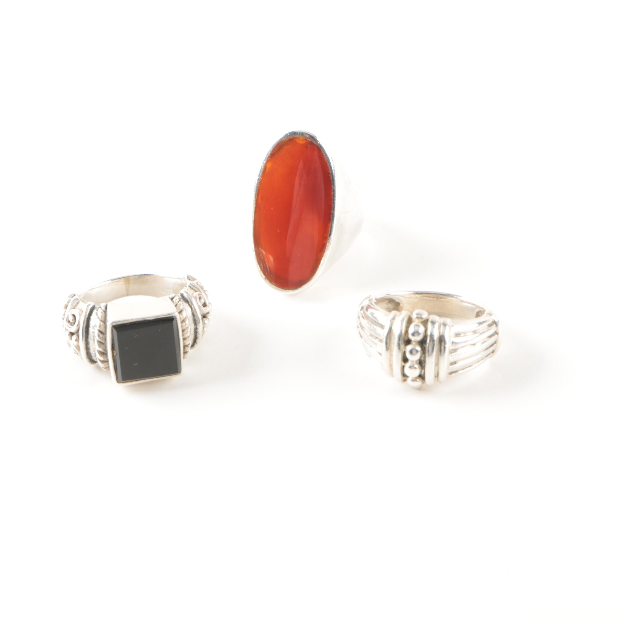 Selection of Sterling Silver Carnelian and Glass Rings