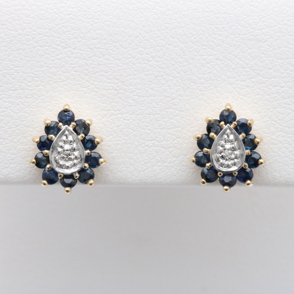 10K Yellow Gold, Blue Sapphire and Diamond Earrings