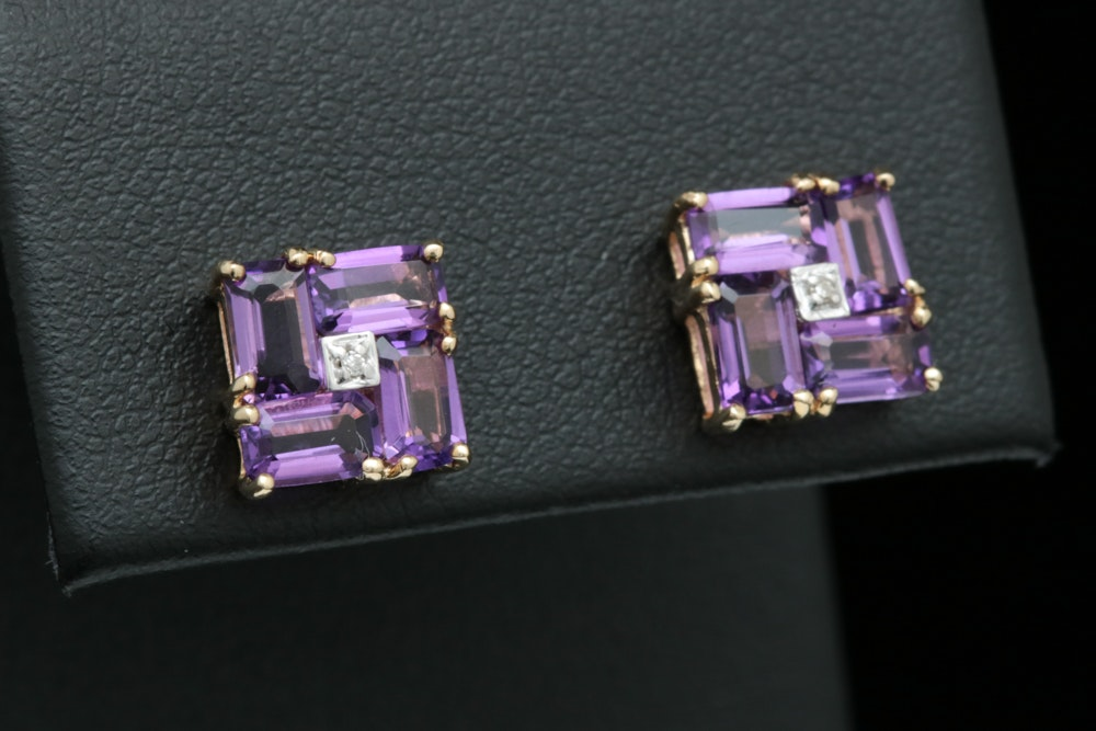 10K Yellow Gold, Amethyst and Diamond Earrings