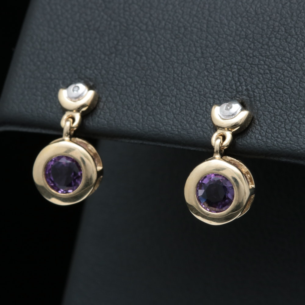 10K Two-Tone Gold, Amethyst and Diamond Dangle Earrings