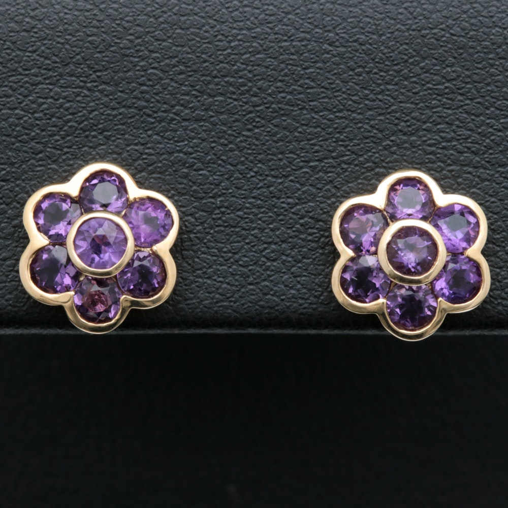 10K Yellow Gold and Amethyst Flower Earrings