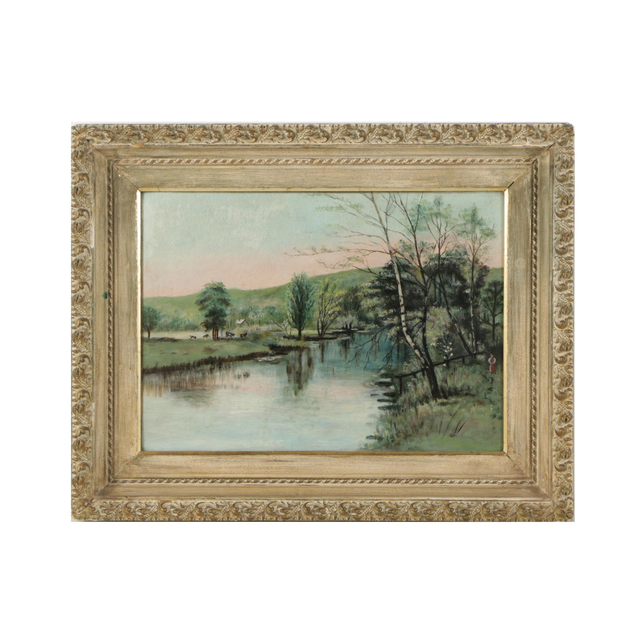 Oil Painting of Pastoral Scene