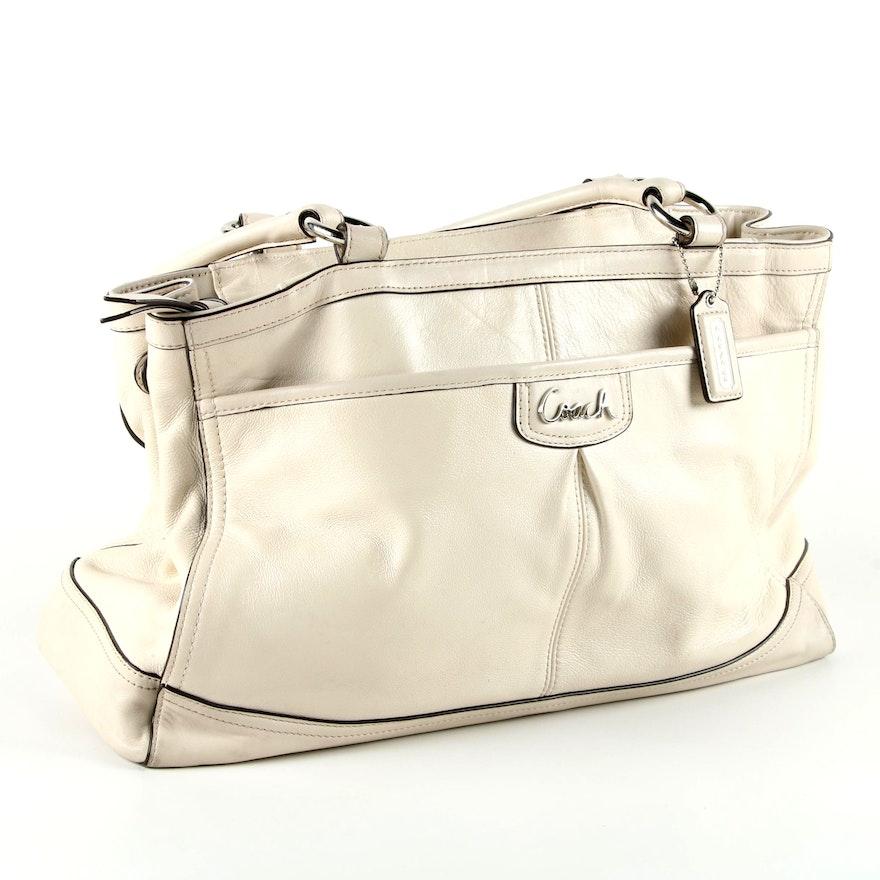 492147b35d47 Coach Park Cream-Colored Leather Carryall Bag   EBTH