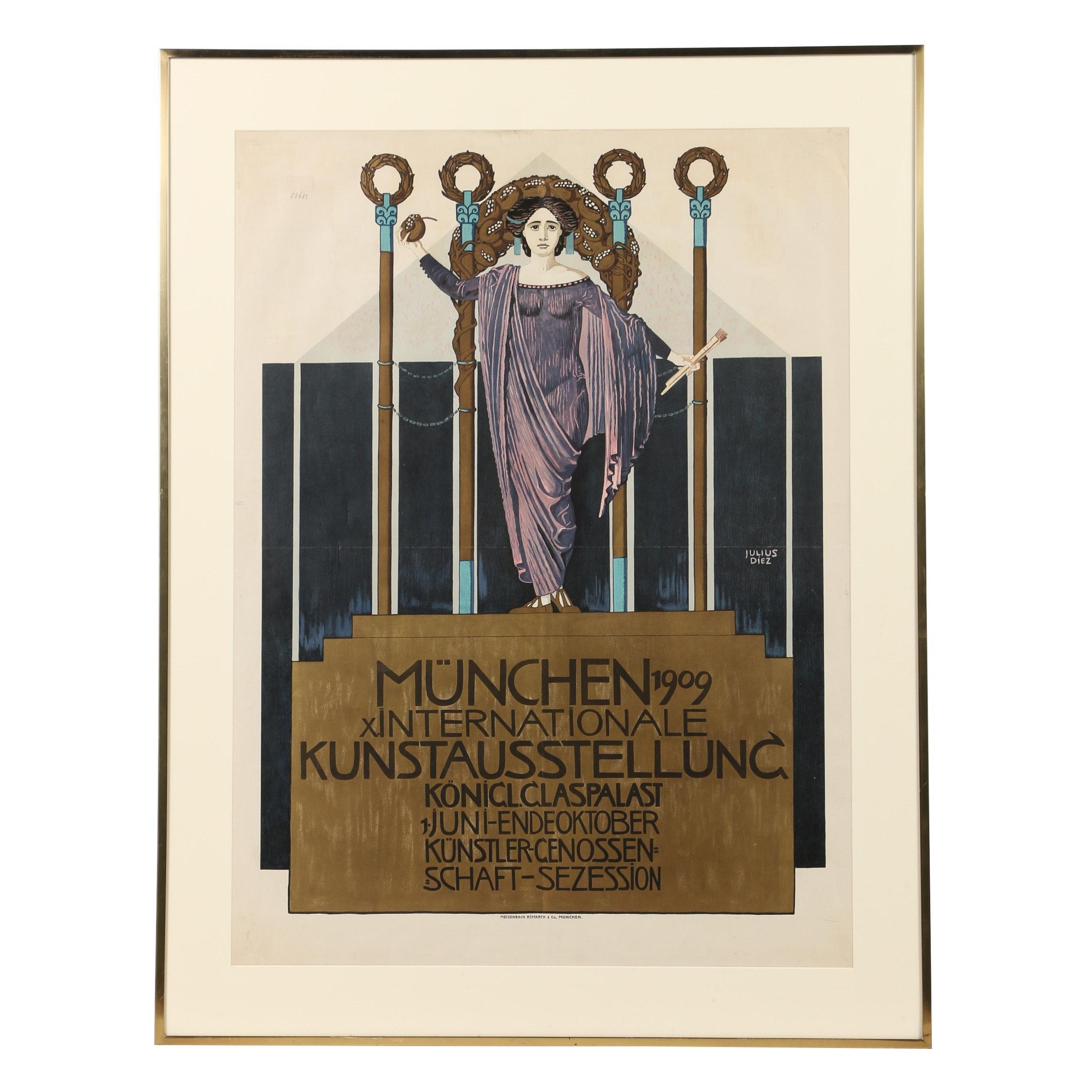 """Julius Diez Lithograph """"München 1909 X. Internationale Kunstausstellung..."""""""