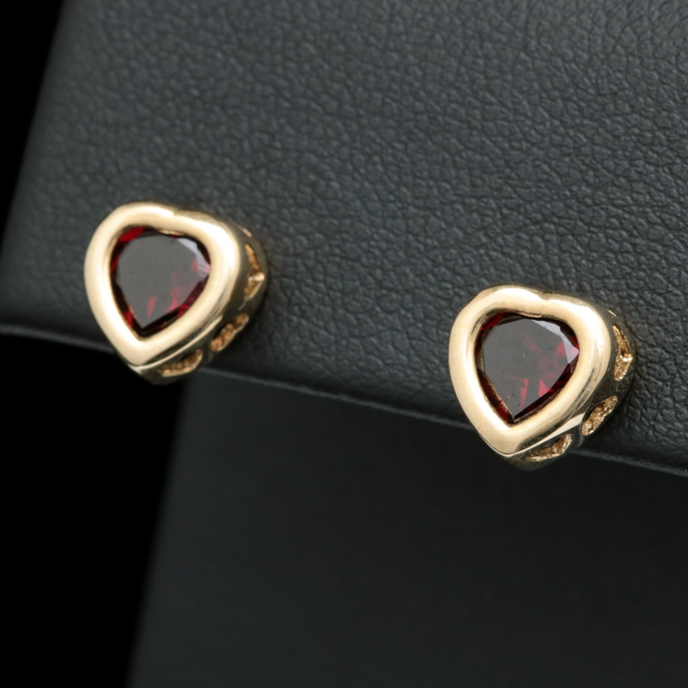 10K Yellow Gold and Garnet Heart Earrings